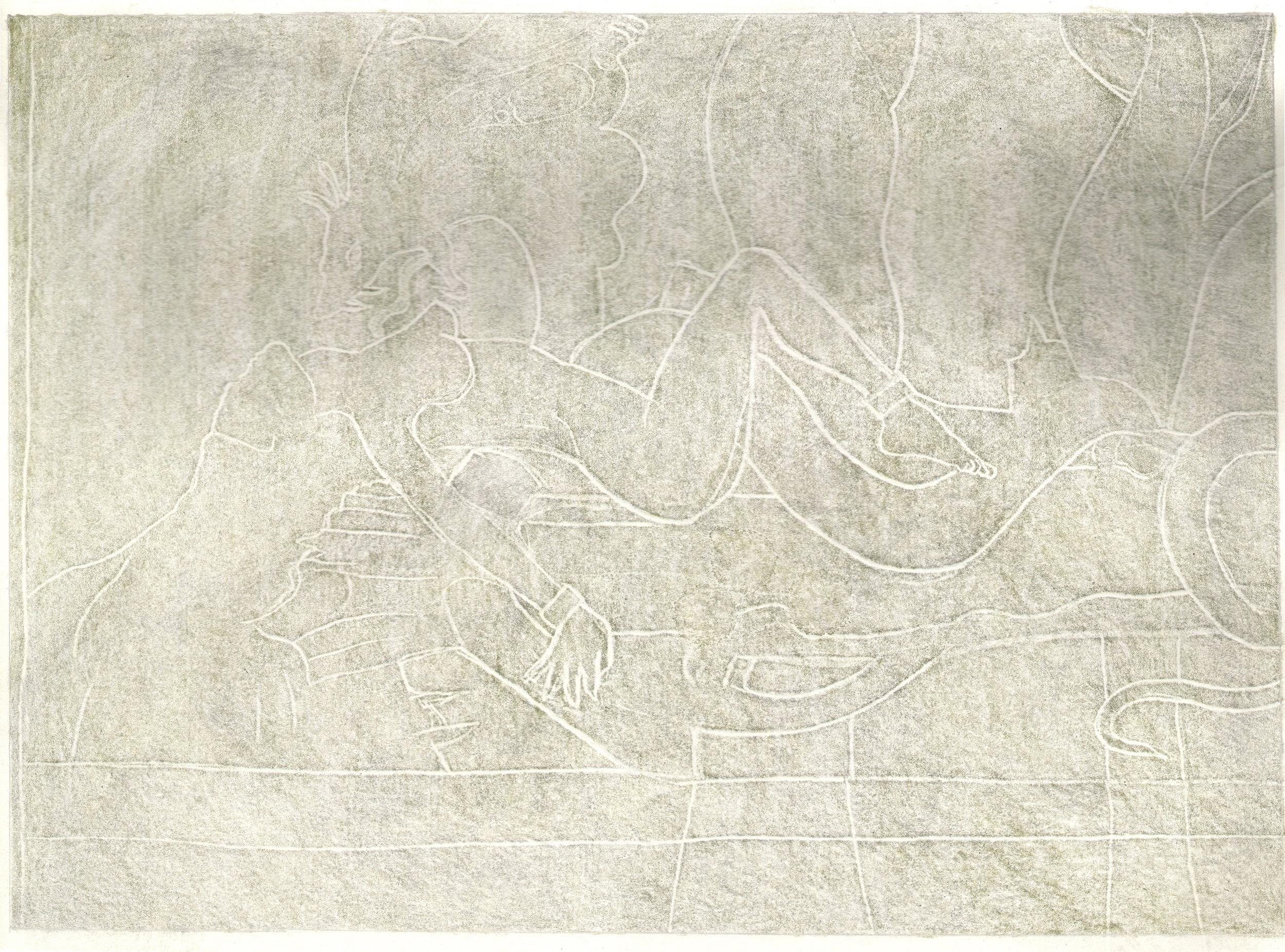 O.T. ( Serie Fantasy XI Boris Vallejo Paraphrase sw ), 2018  Bleistift Buntstift auf Papier, 26x35.5cm