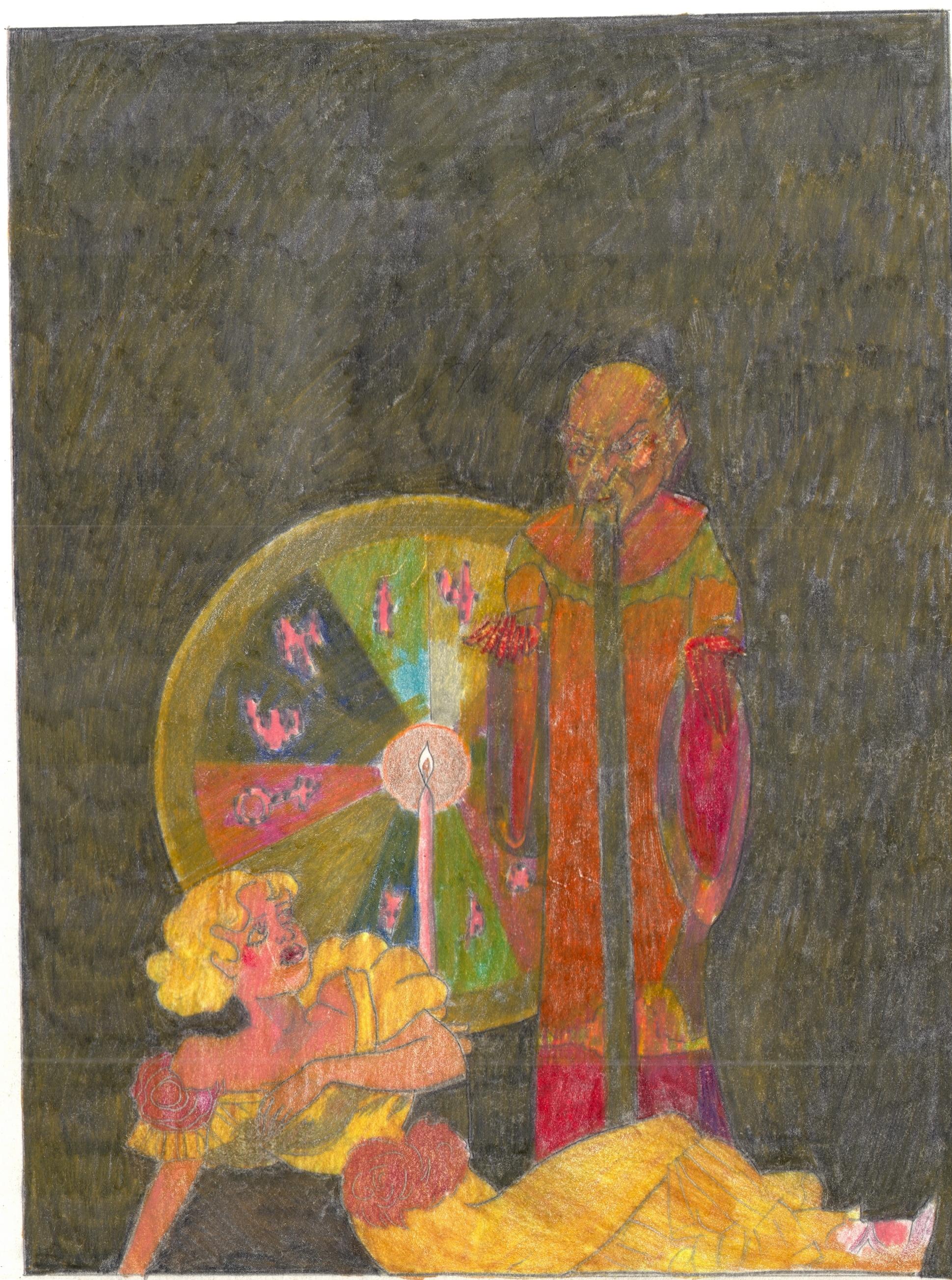 O.T. ( Serie Weird Tales II ), 2018  Bleistift Buntstift auf Papier, 26x35.5cm
