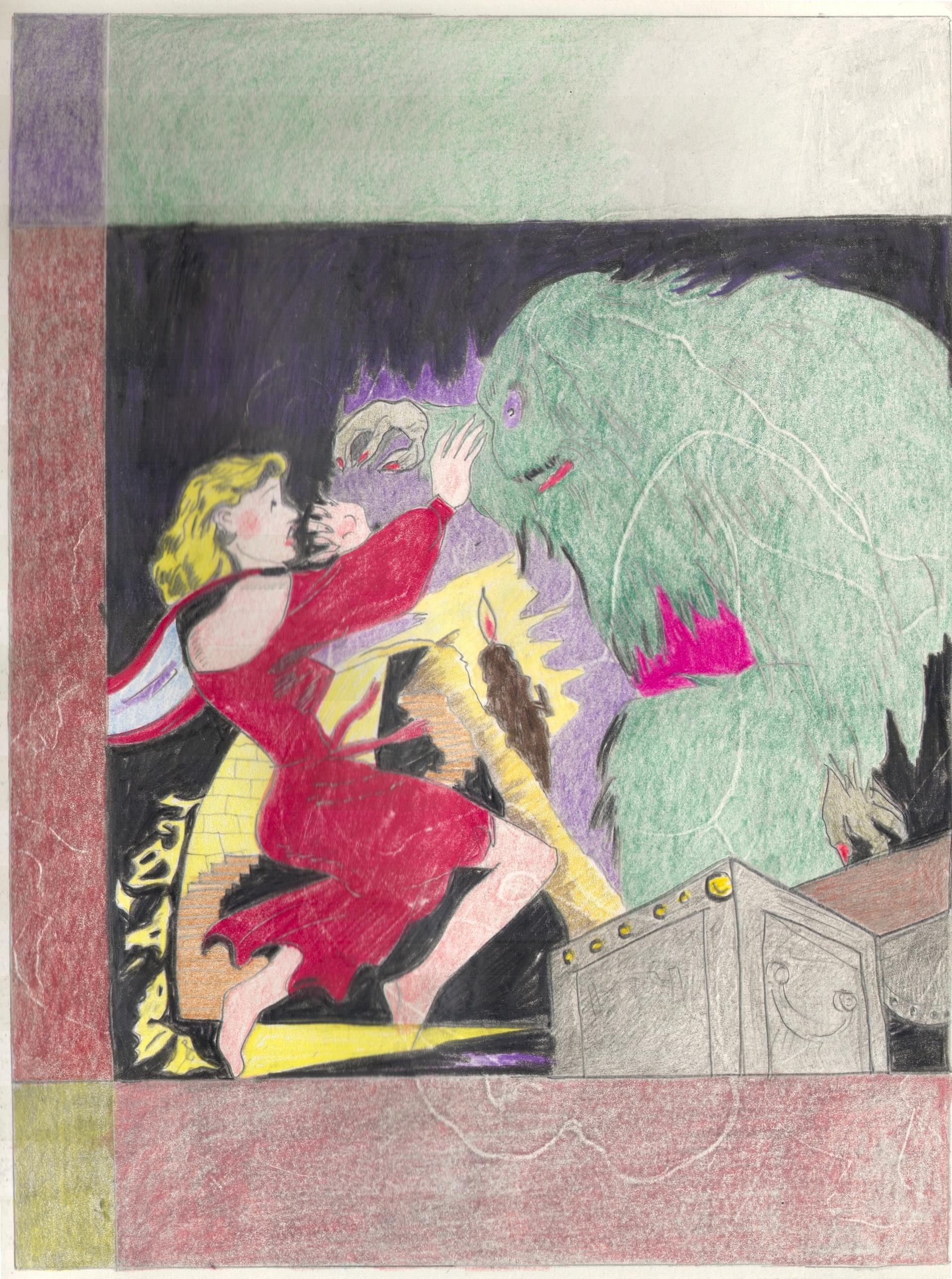 O.T. ( Serie Weird Tales ), 2018  Bleistift Buntstift auf Papier, 26x35.5cm