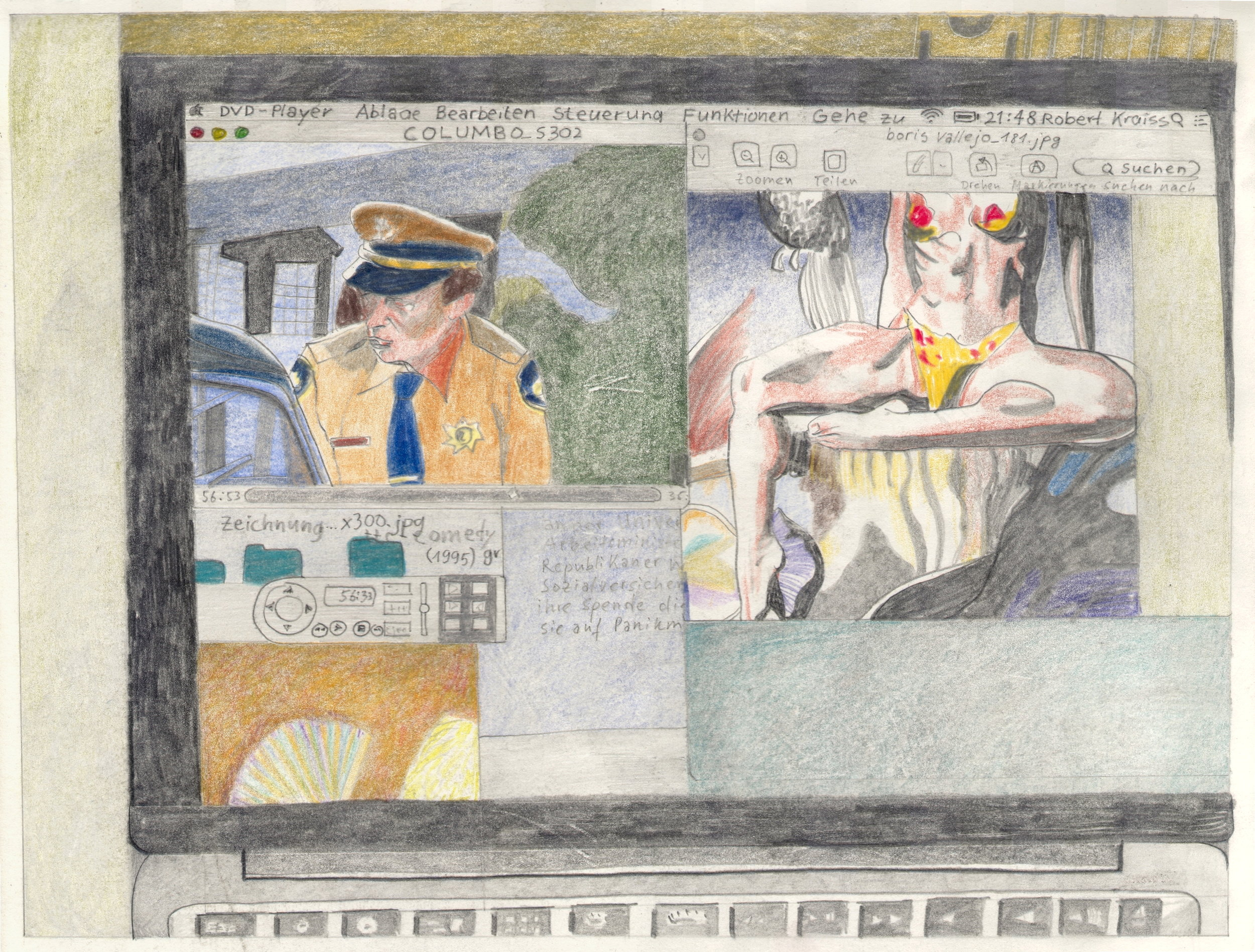 O.T. ( Computer Collage Fantasy und Columbo ), 2018  BleistiftBuntstift auf Papier, 26x35.5cm
