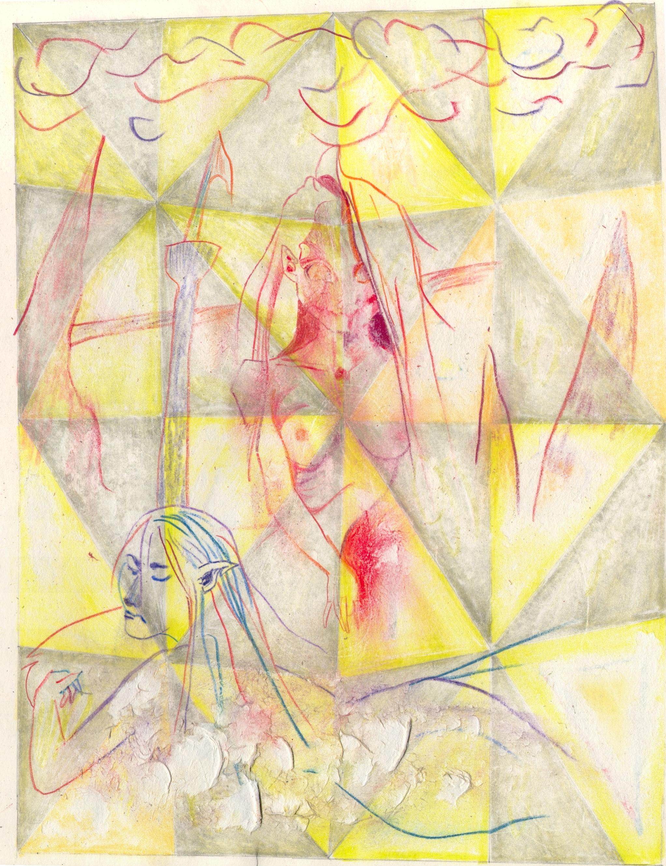 O.T. ( Serie Sirens II ), 2018  Bleistift & Buntstift Tesafilm auf Papier, 26x35.5cm