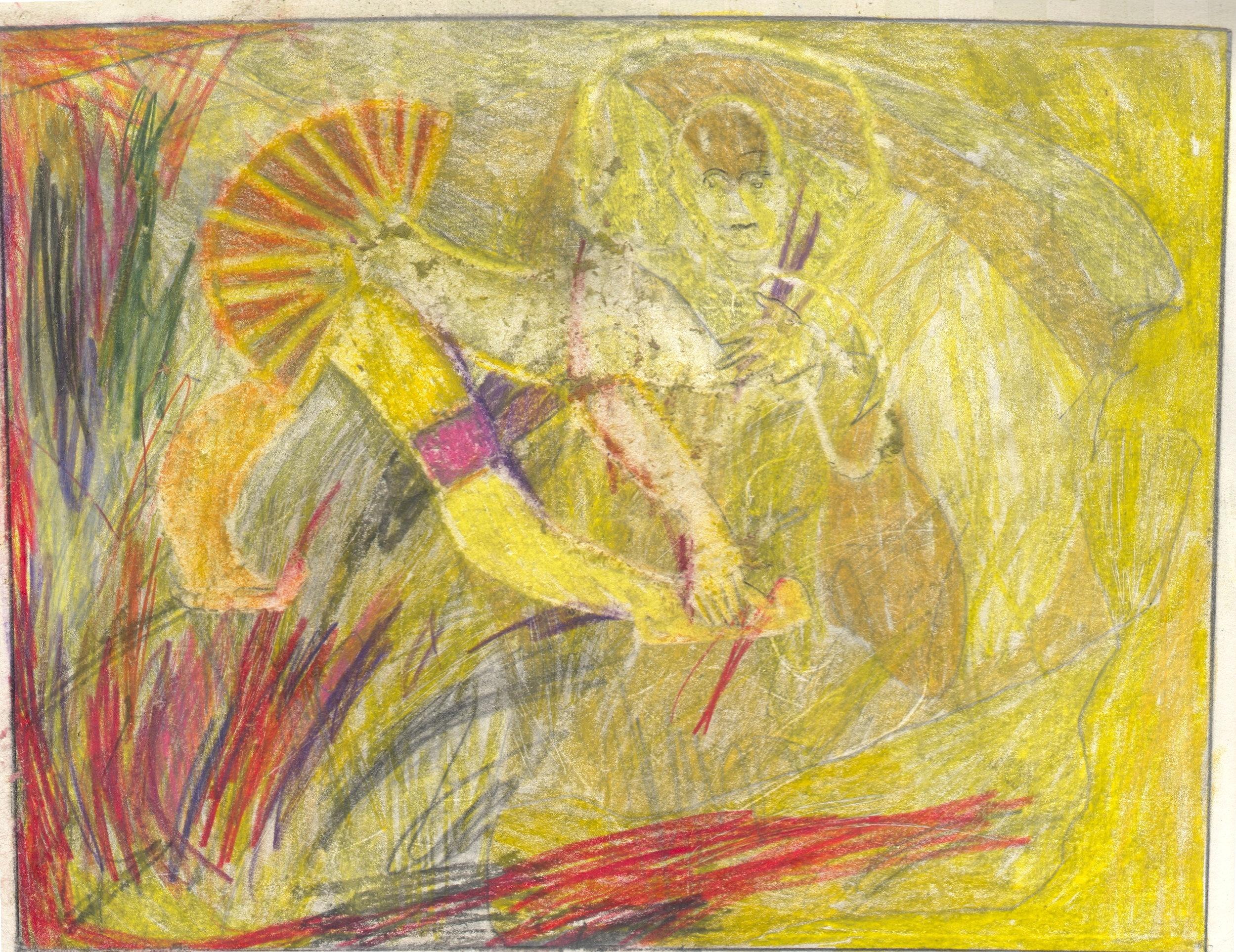 O.T. ( yellow fun ), 2018  BleistiftBuntstift auf Papier, 26x35.5cm