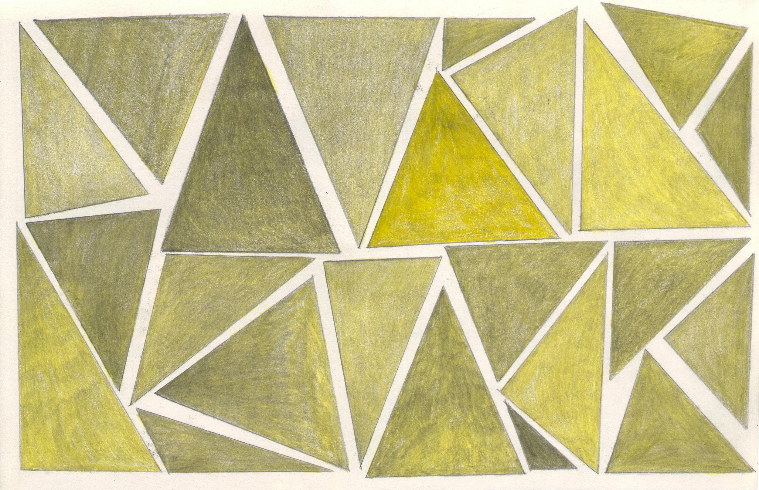 O.T. ( gelbe Dreiecke ), 2018  Bleistift auf Papier, 26x35.5cm