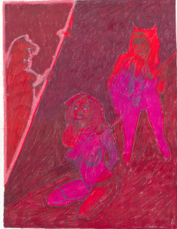 O.T. ( Fantasy -Red Phase II ), 2019  Bleistift Buntstift auf Papier, 26x35.5cm