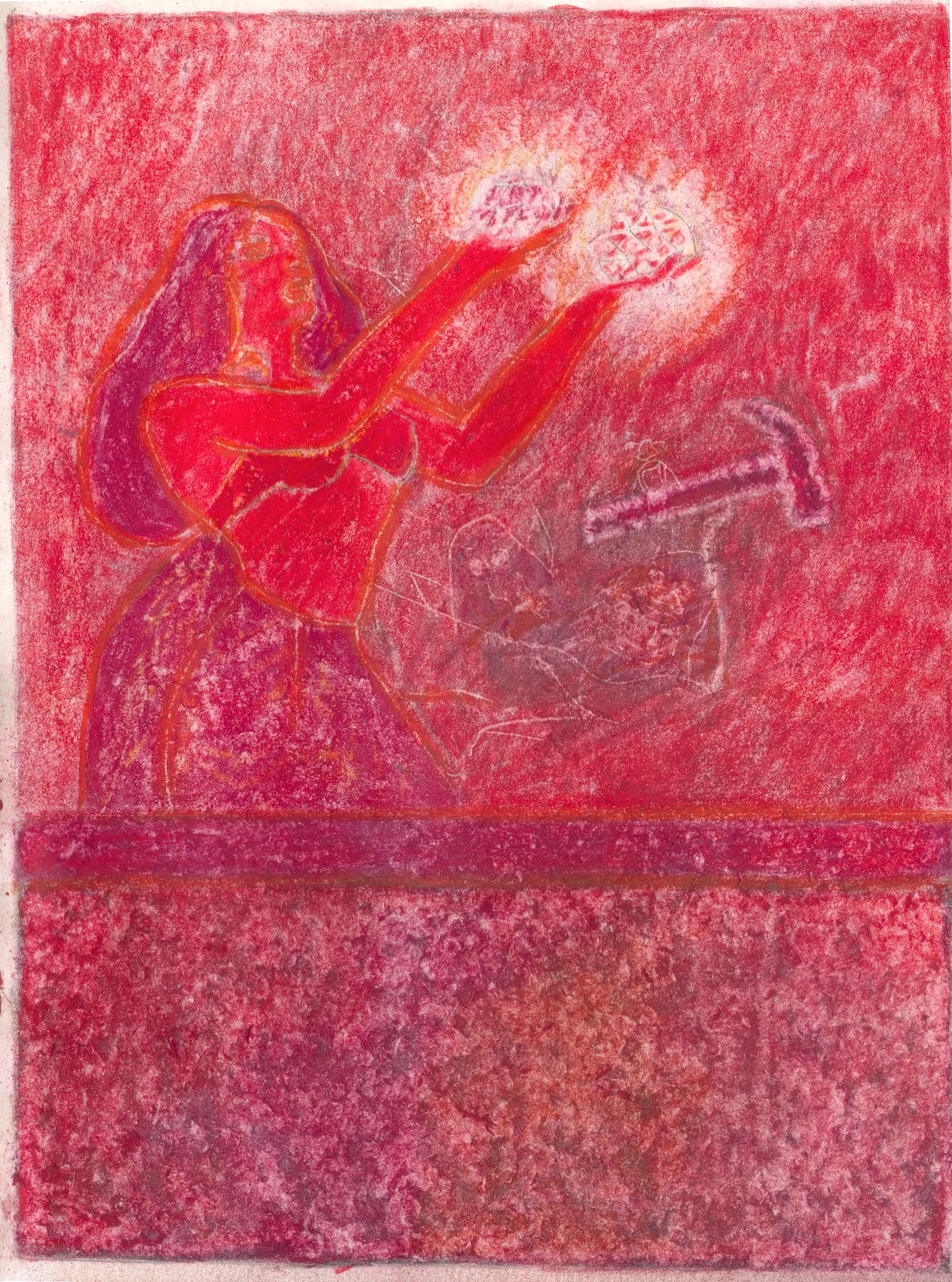 O.T. ( Fantasy -Hammer Red Phase III ), 2019  Bleistift Buntstift auf Papier, 26x35.5cm
