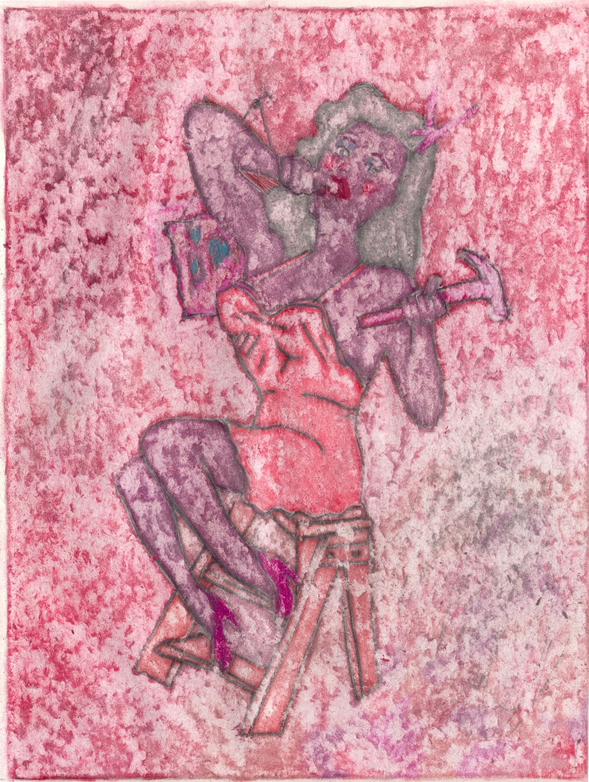 O.T. ( Pinup-Hammer - Red-Phase ), 2019  Bleistift Buntstift auf Papier, 26x35.5cm