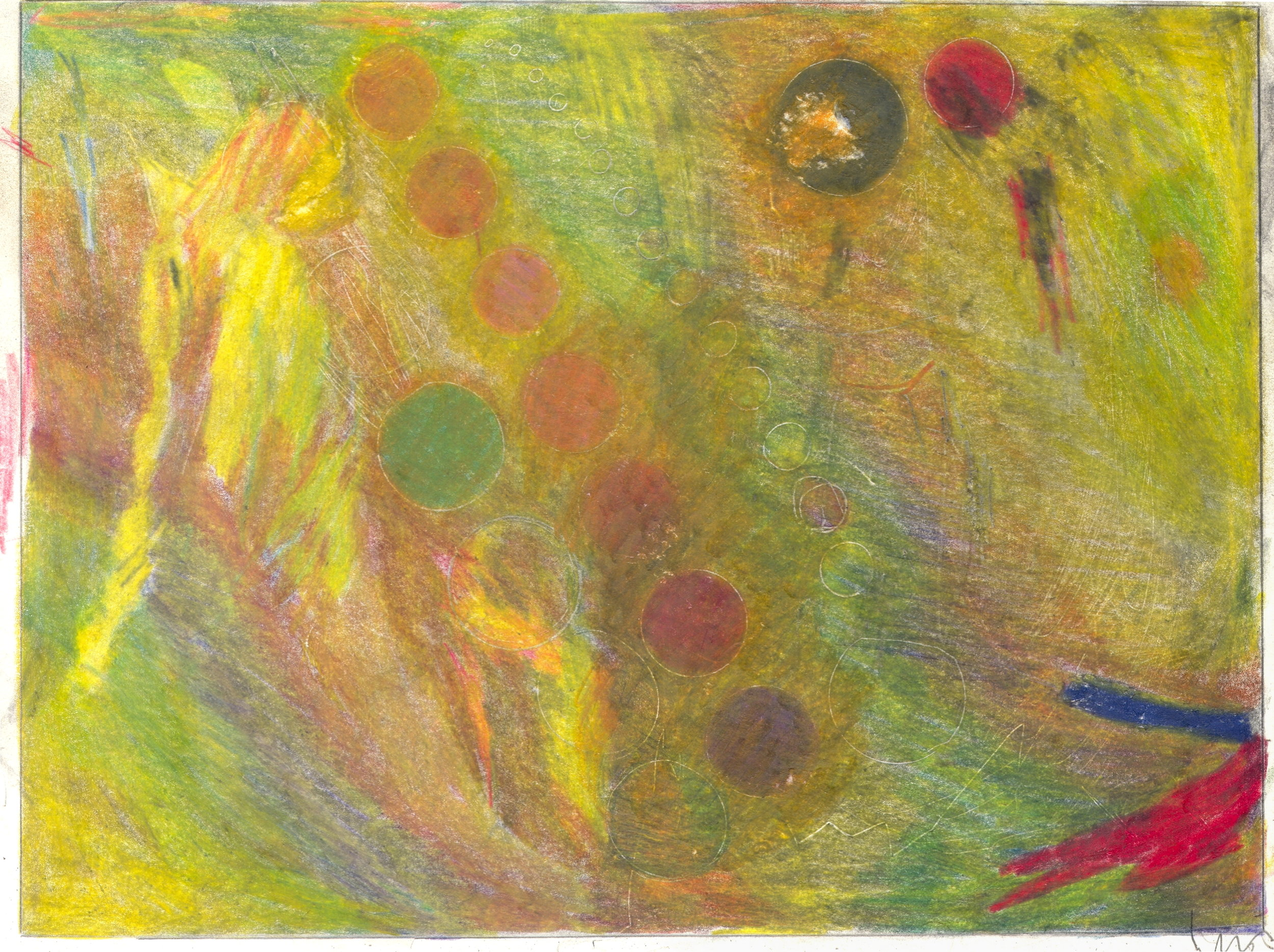 O.T. ( Abstratktion gelb ), 2018  Bleistift Buntstift auf Papier, 26x35.5cm