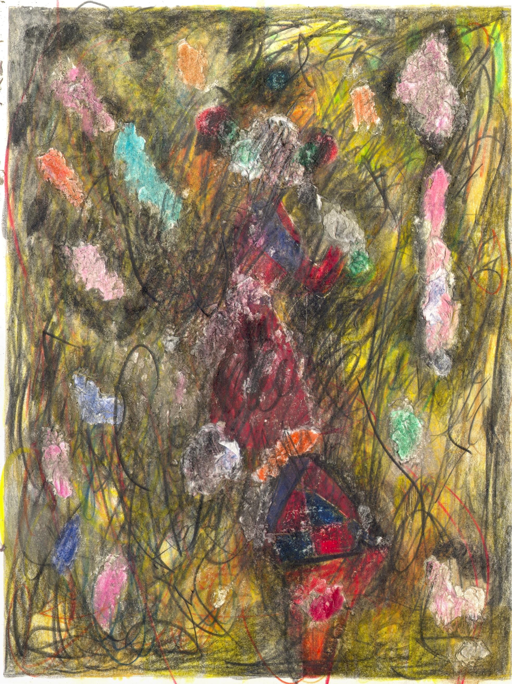 O.T. ( Abstratktion dunkel ), 2018  Bleistift Buntstift auf Papier, 26x35.5cm