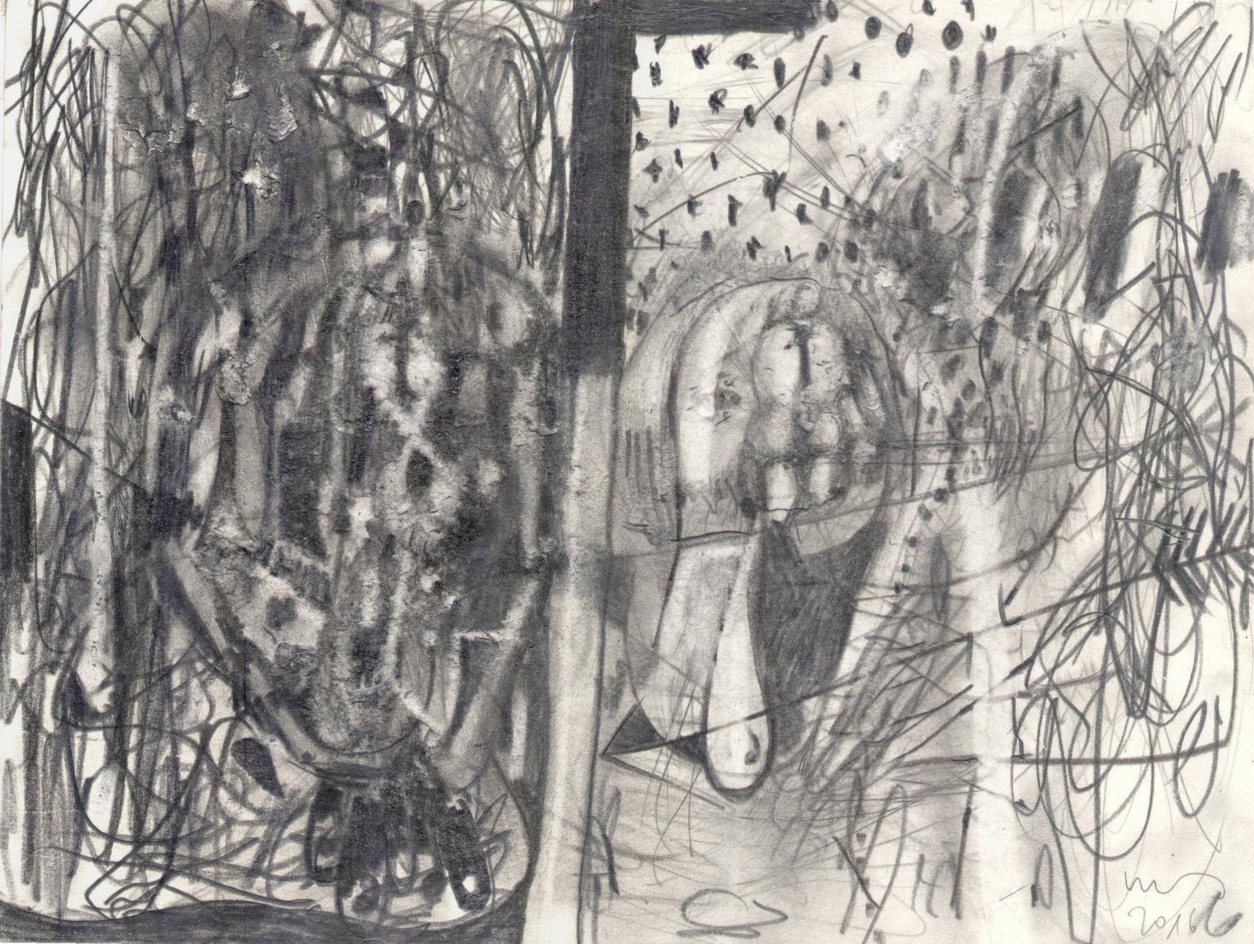 O.T. ( Figur und Abstraktion ), 2017  Bleistift auf Papier, 26x35.5cm