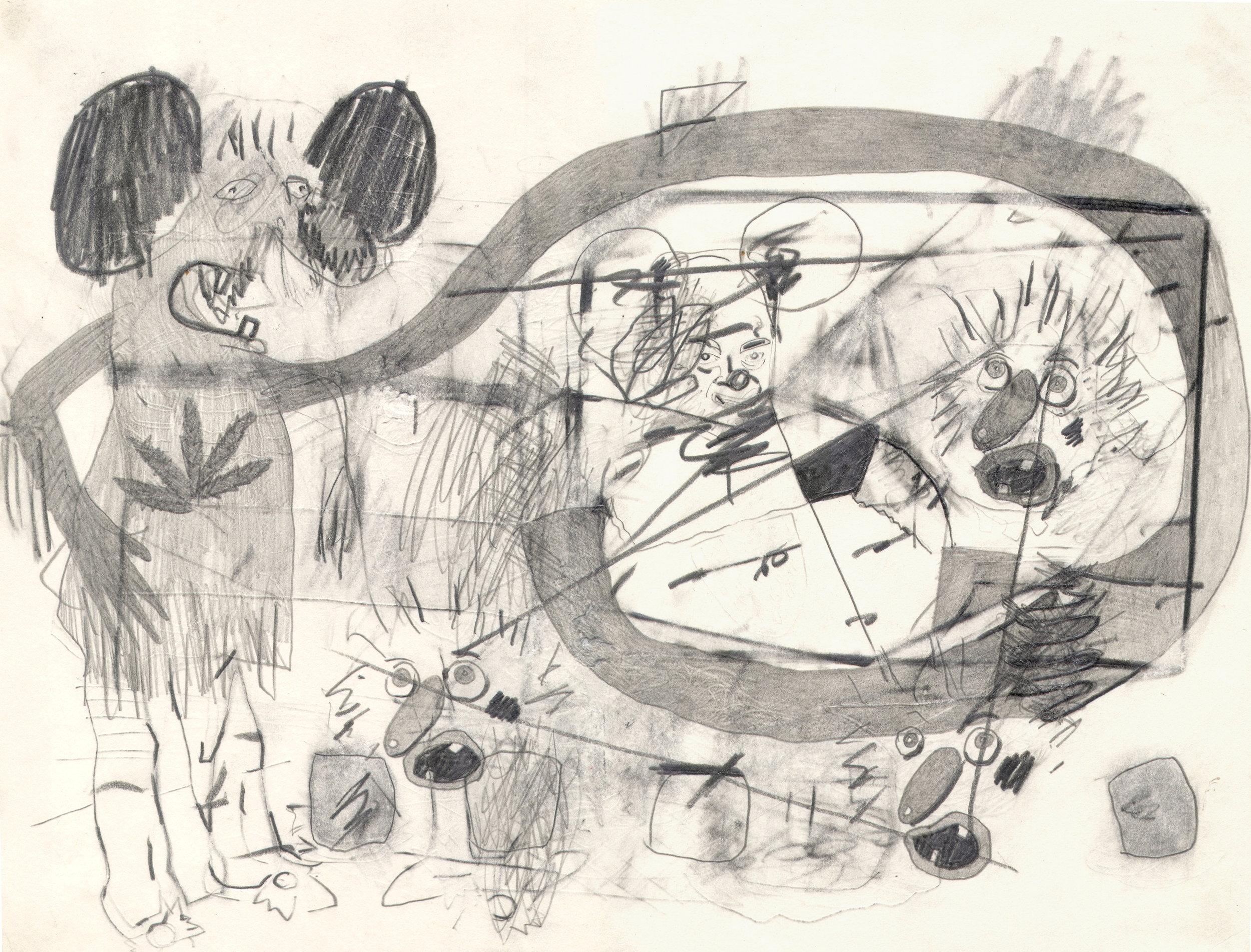 O.T. ( Ratte. Canabis, Bilder ), 2006  Bleistift auf Papier, 26x35.5cm