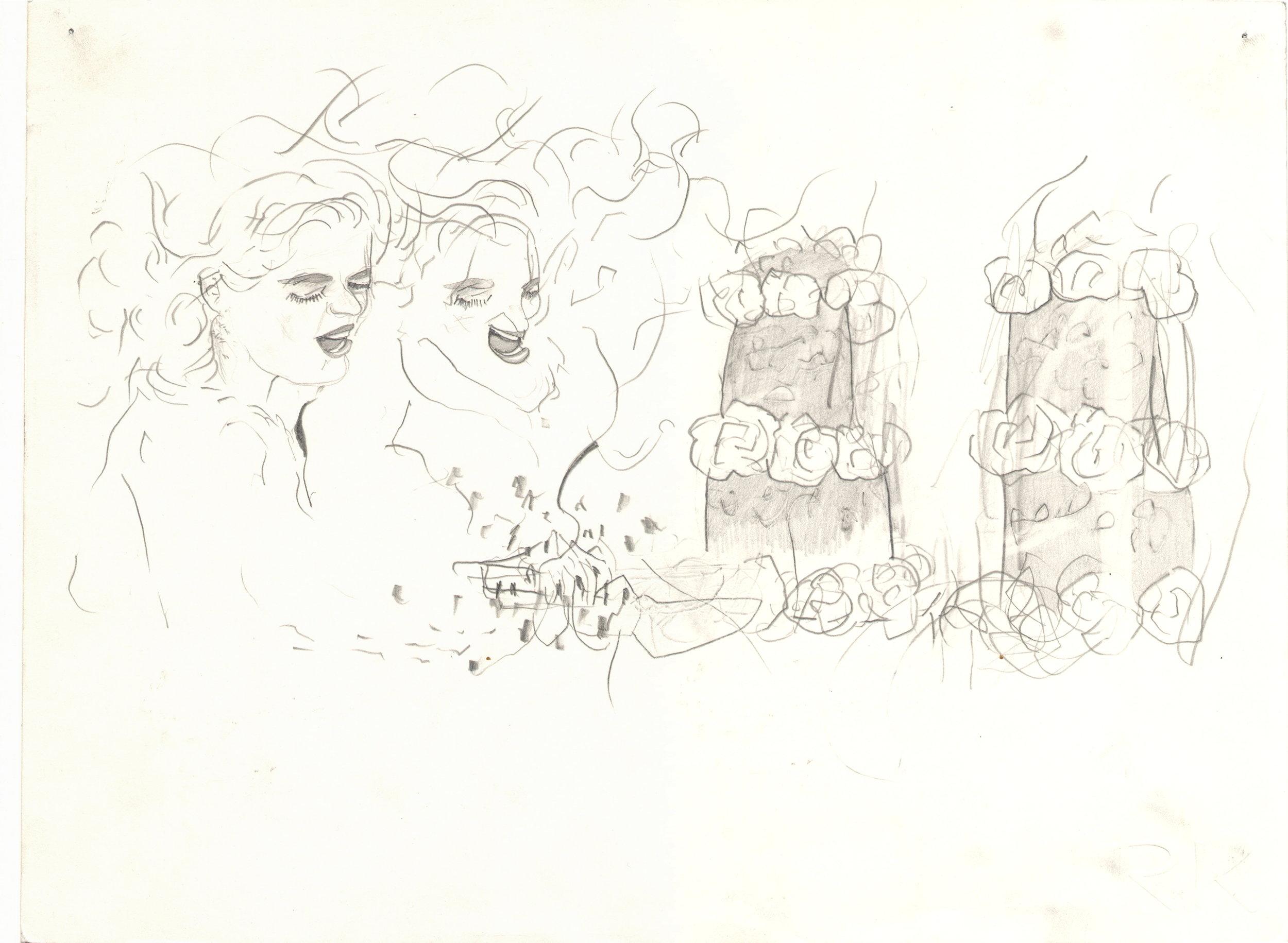 O.T. ( Zwei Frauen, zwei Formen mit Blumen ), 2006  Bleistift auf Papier, 26x35.5cm