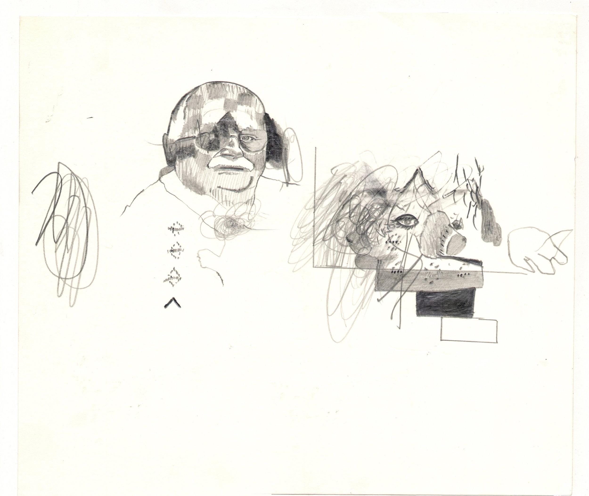 O.T. ( Mann mit Schwein ), 2006  Bleistift auf Papier, 26x35.5cm