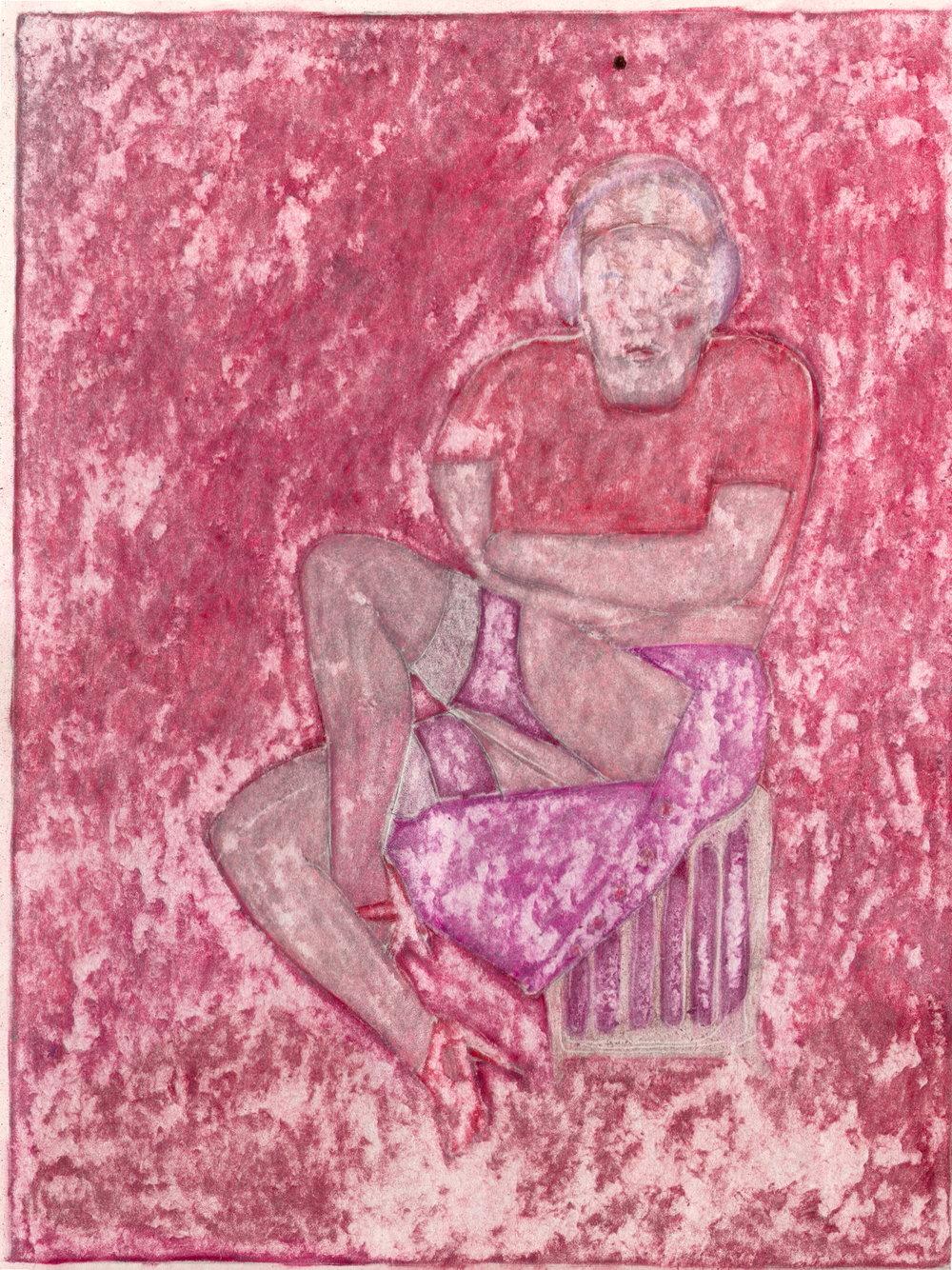 O.T. ( cold-heat Red-Phase ), 2019  Bleistift Buntstift auf Papier, 26x35.5cm