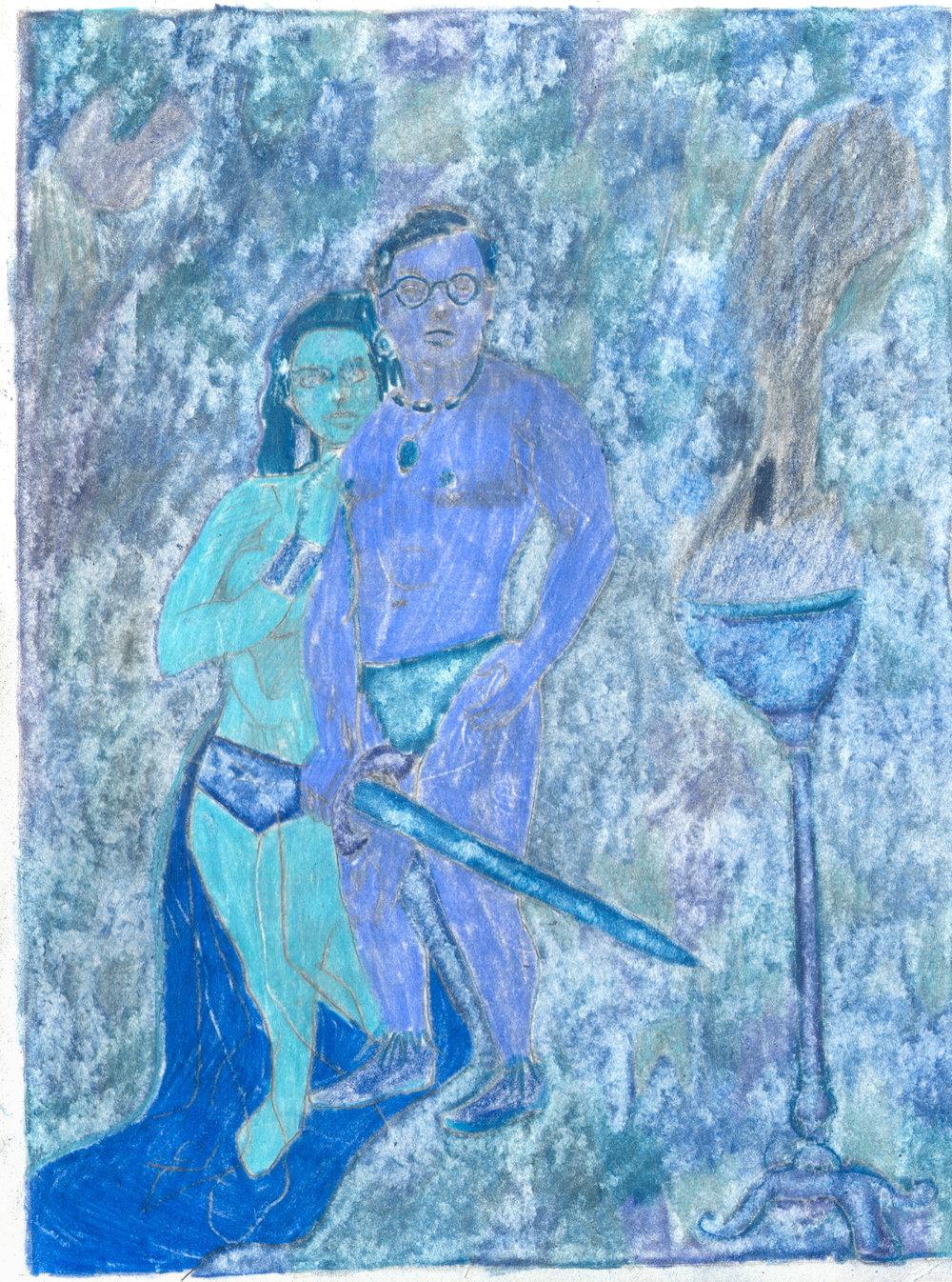 O.T. ( Selbstportrait als Conan der Barbar - Red-Phase ), 2019  Bleistift Buntstift auf Papier, 26x35.5cm