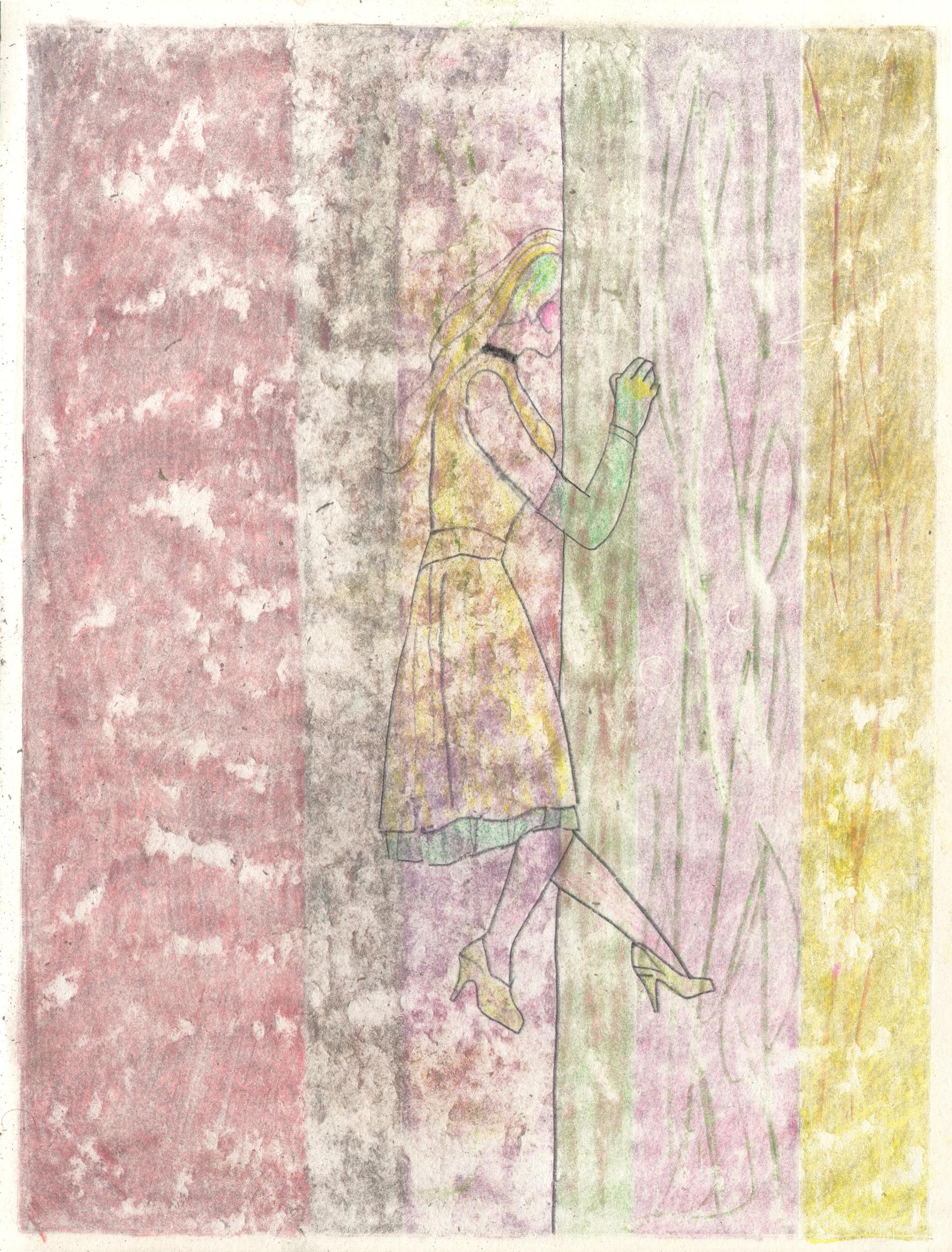 O.T. ( Frau und Vorhang ), 2019  Bleistift Buntstift auf Papier, 26x35.5cm
