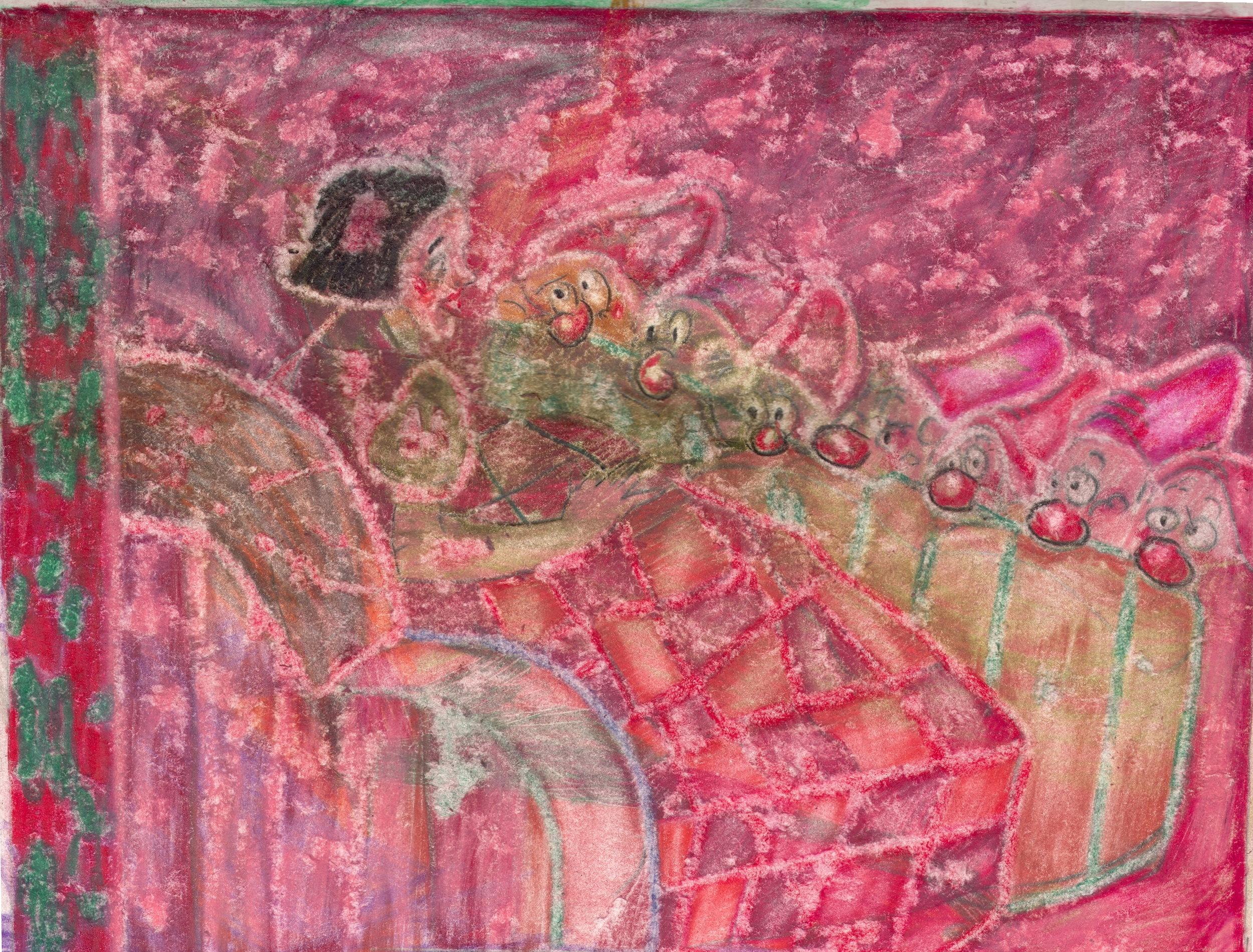 O.T. ( Pinup Fairy Tale I ), 2019  Buntstift auf Papier, 26x35.5cm
