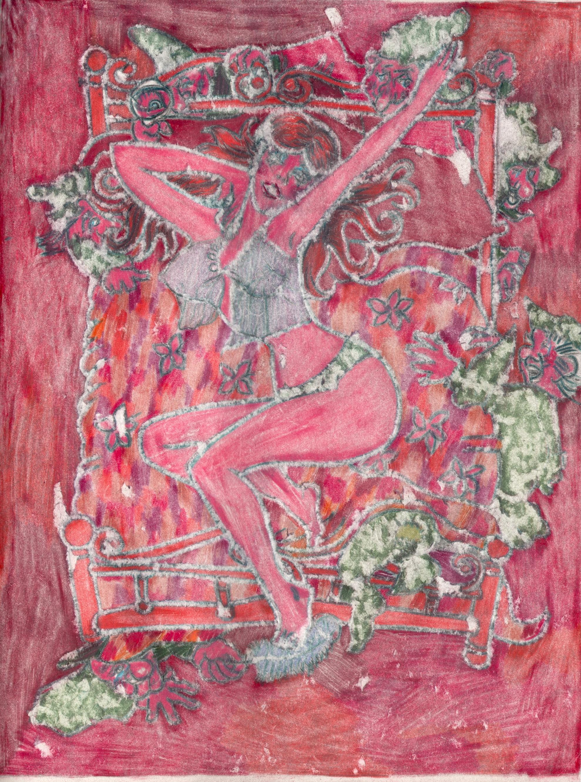 O.T. ( Pinup Fairy Tale II ), 2019  Buntstift auf Papier, 26x35.5cm