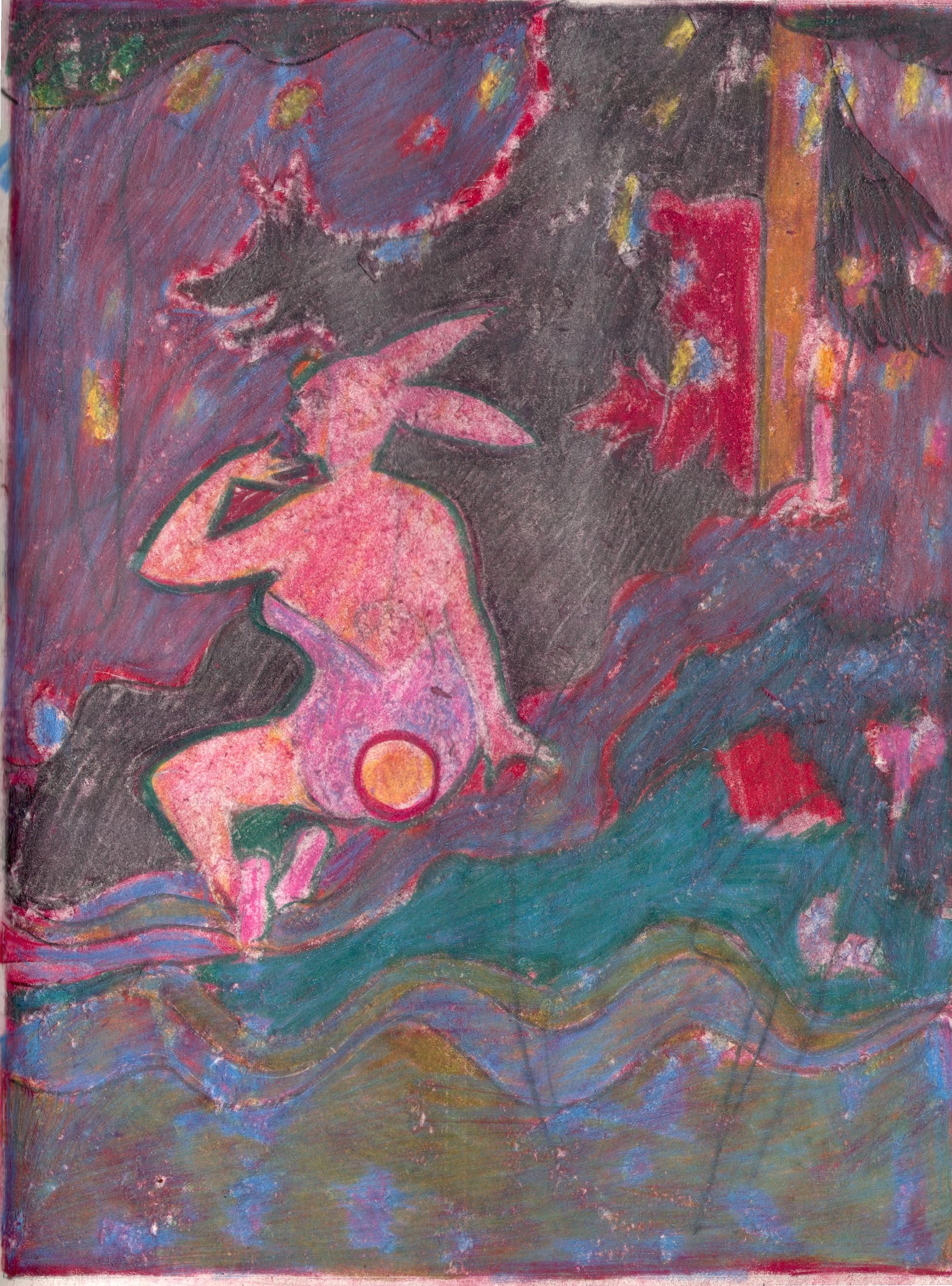 O.T. ( Pinup Fairy Tale IV ), 2019  Buntstift auf Papier, 26x35.5cm