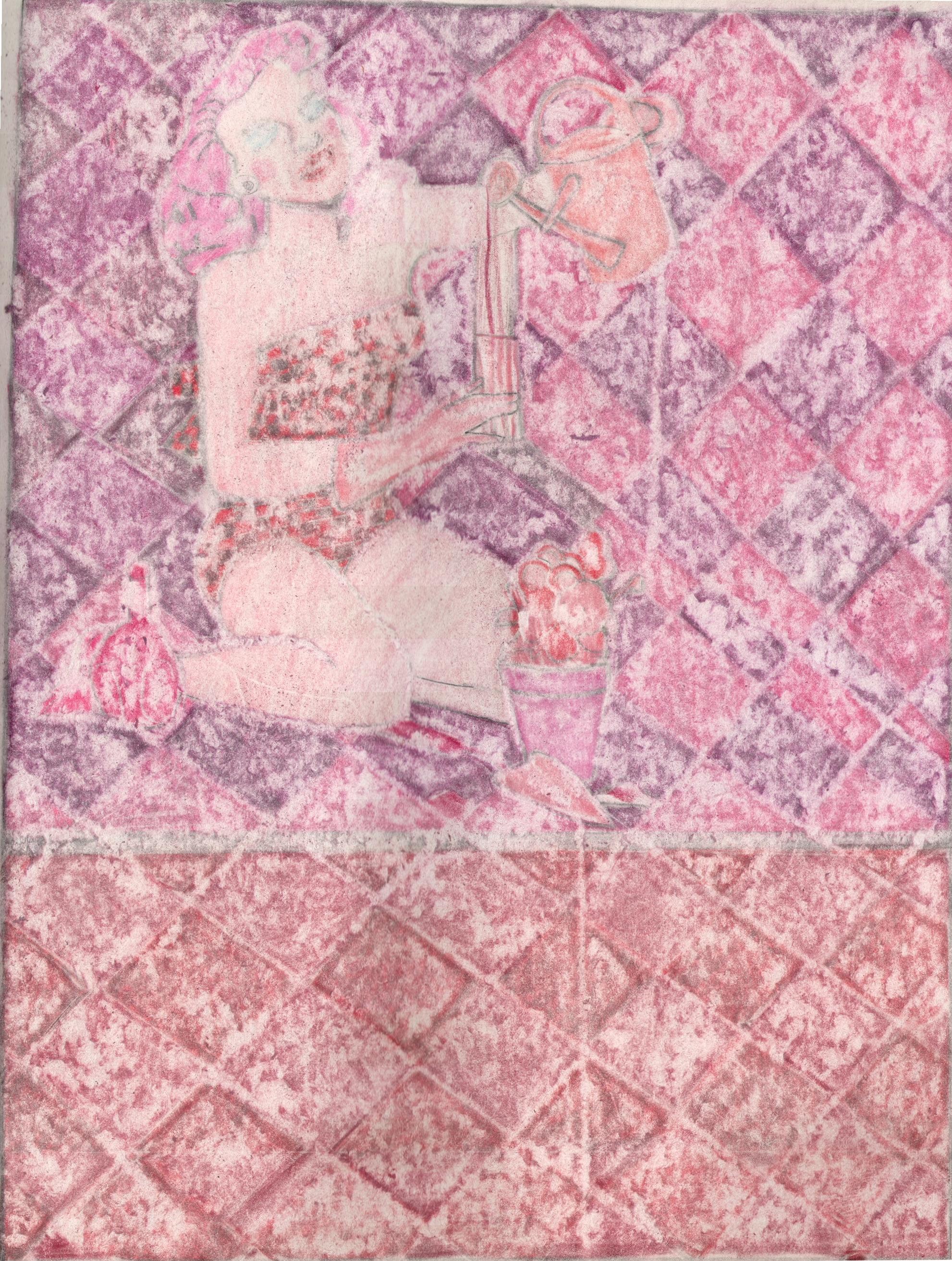 O.T. ( Pinup Gardening ), 2019  Buntstift auf Papier, 26x35.5cm