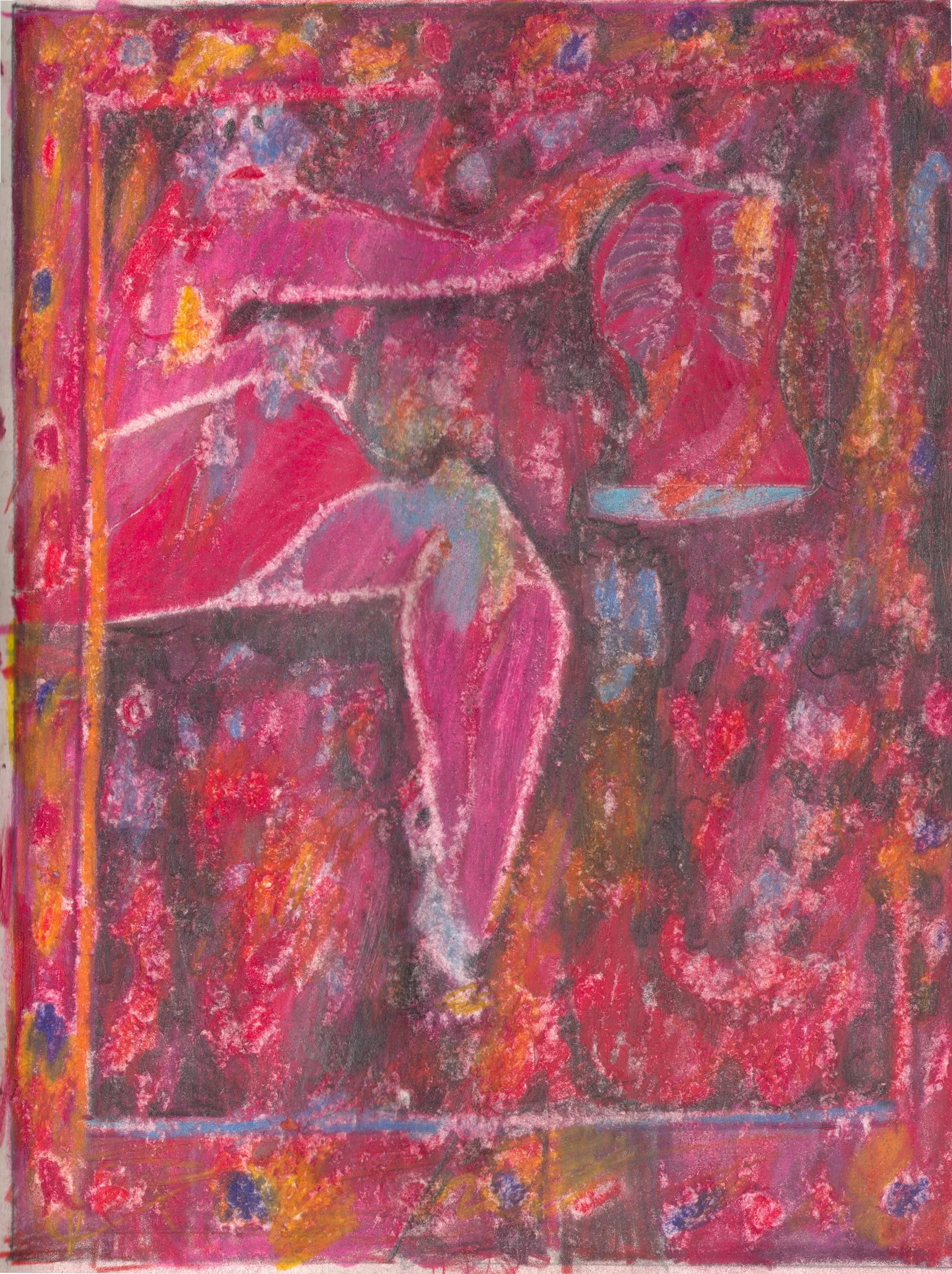 O.T. ( Pinup rx-ray II ), 2019  Buntstift auf Papier, 26x35.5cm