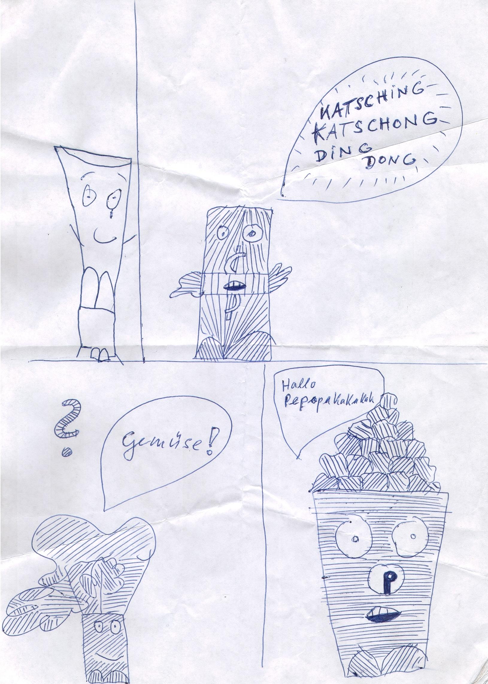 O.T. ( Katsching ), 2017  Kugelschreiber Papier, 29.8x21cm