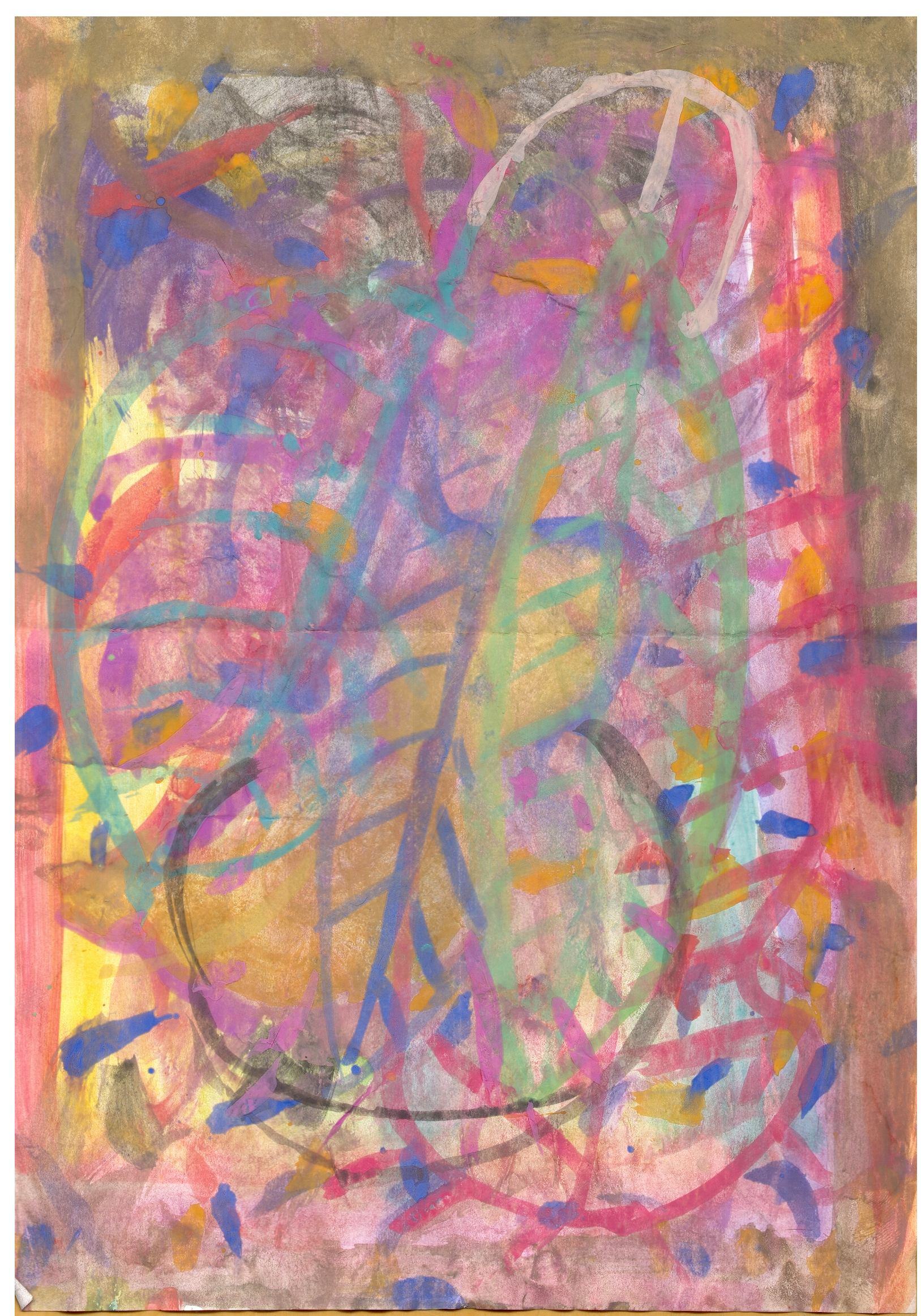 O.T. ( Penis ), 2015  Tempera Bleistift Buntstift Papier, 29.8x21cm