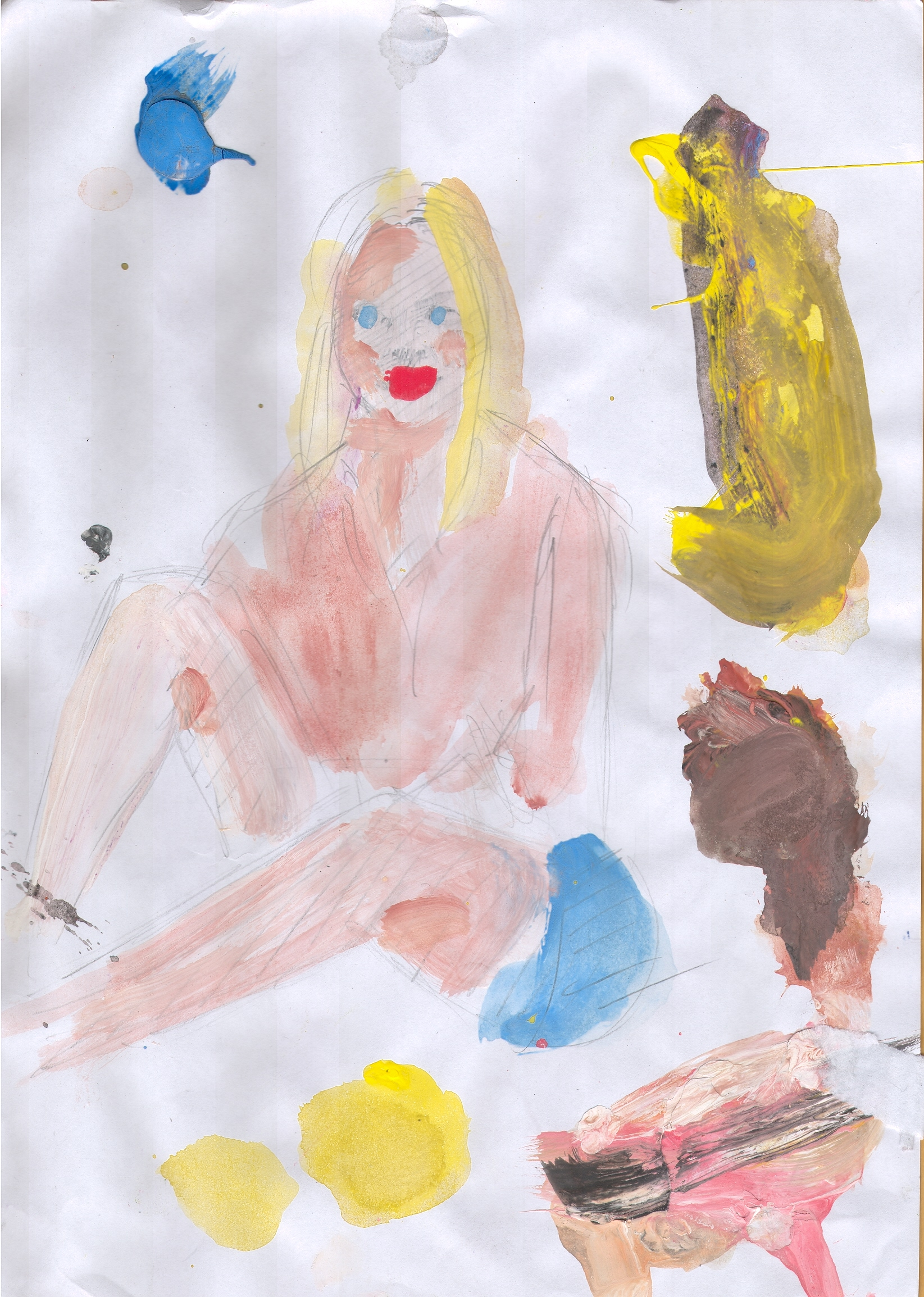 O.T. ( junge Frau ), 2015  Tempera Bleistift Papier, 29.8x21cm