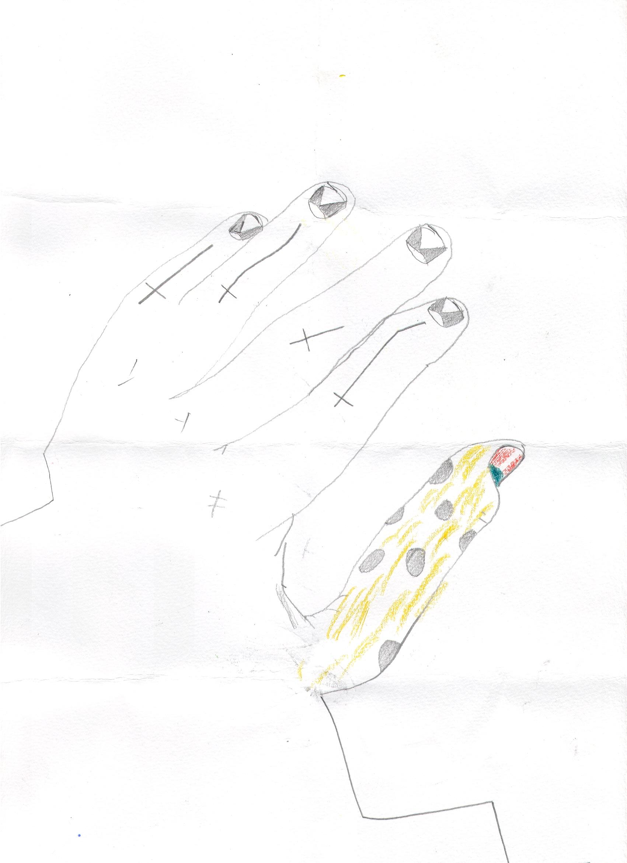 O.T. ( Hand ), 2018  Bleistift Buntstift Papier, 29.8x21cm