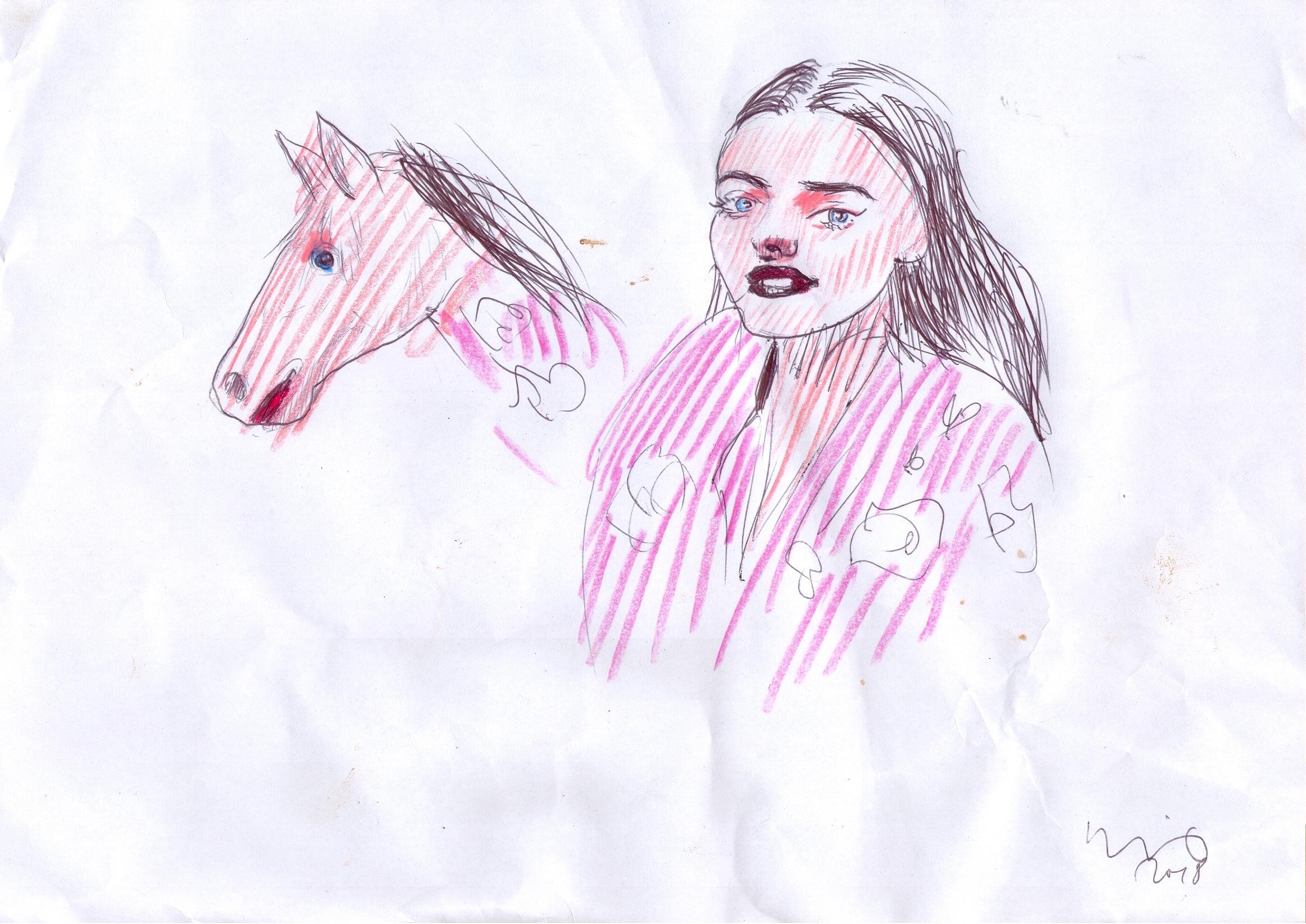 O.T. ( junge Frau mit Pferd ), 2018  Buntstift Papier, 29.8x21cm