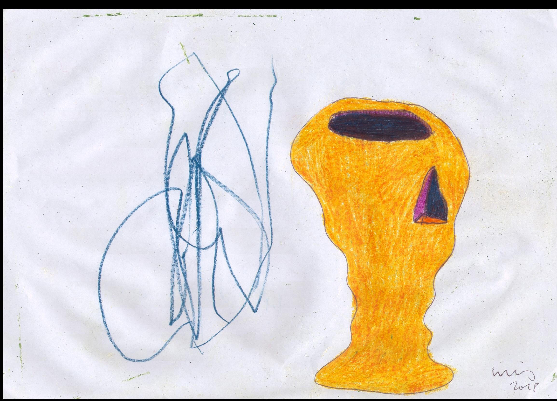 o.T. ( Gefäß ), 2018  Tempera Bleistift Buntstift Papier 29.8x21cm