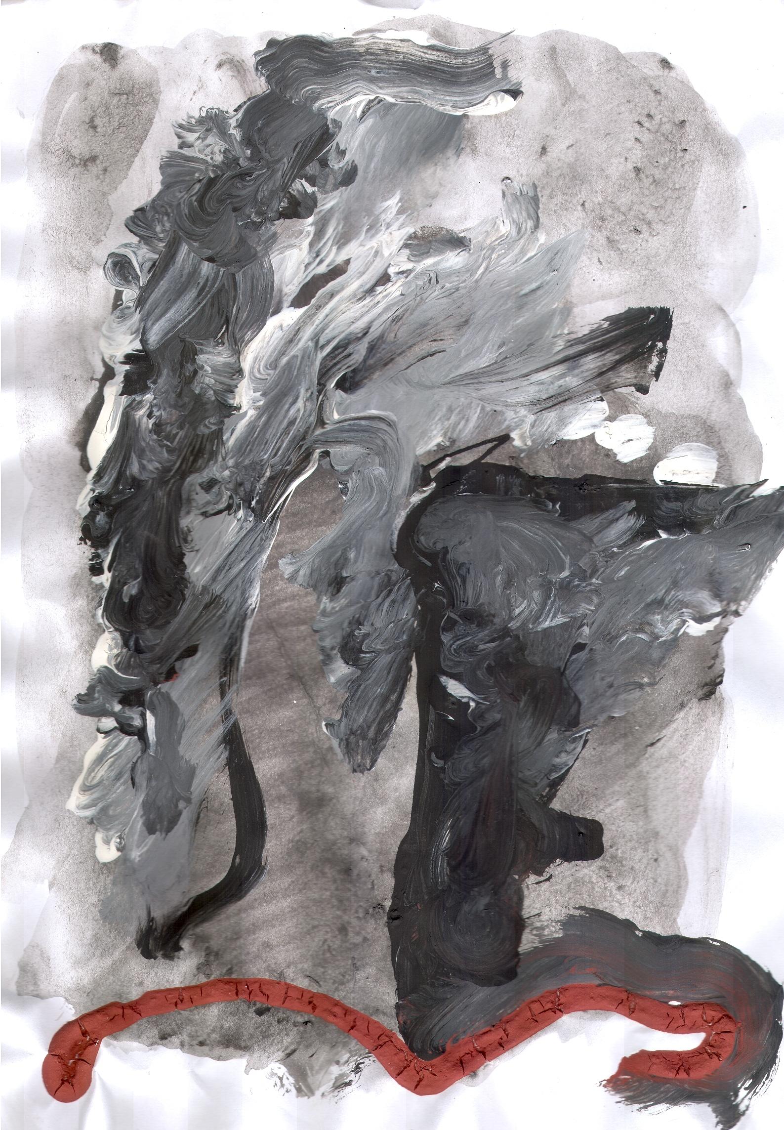 O.T. ( abstrakt xvi ), 2018  Tempera Papier, 29.8x21cm