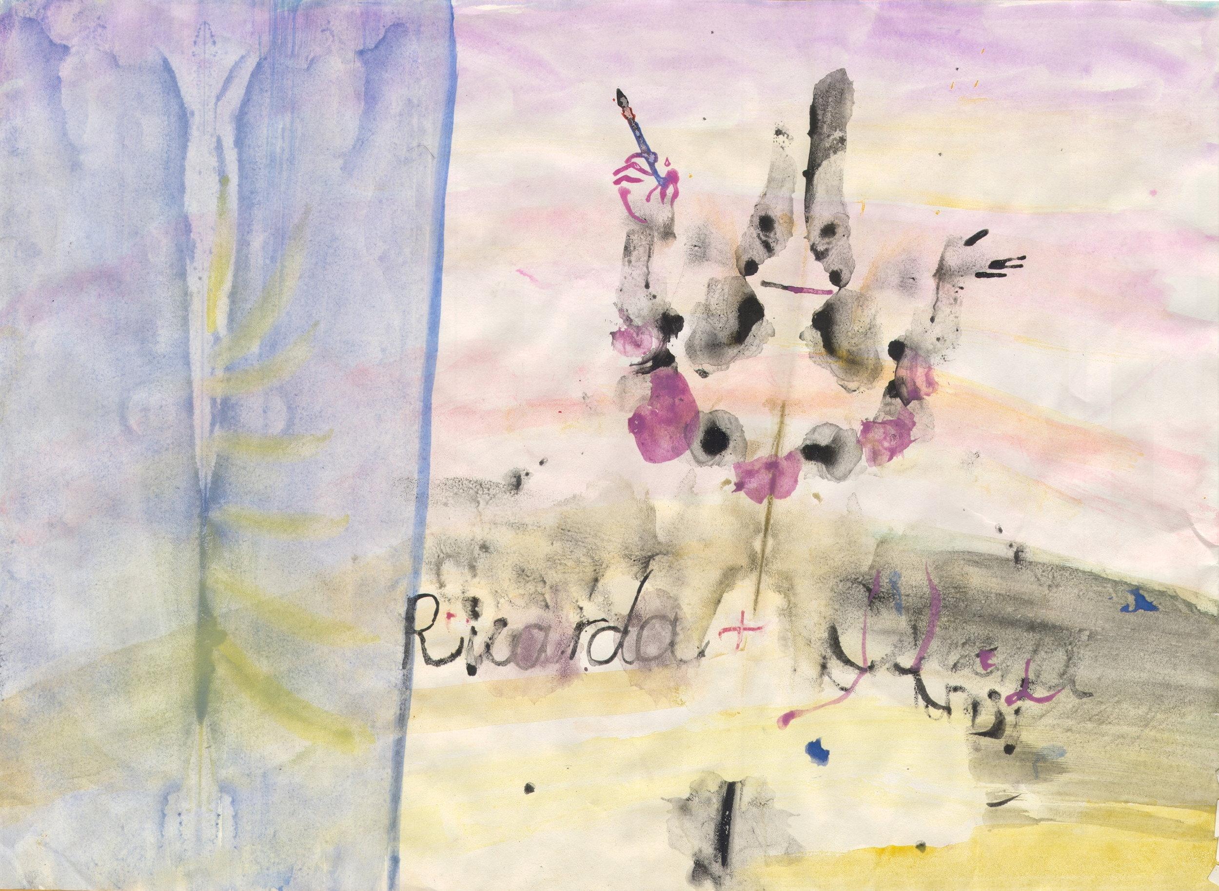 O.T. ( Ricarda ), 2018  Tempera Papier, 40.5x29.2cm