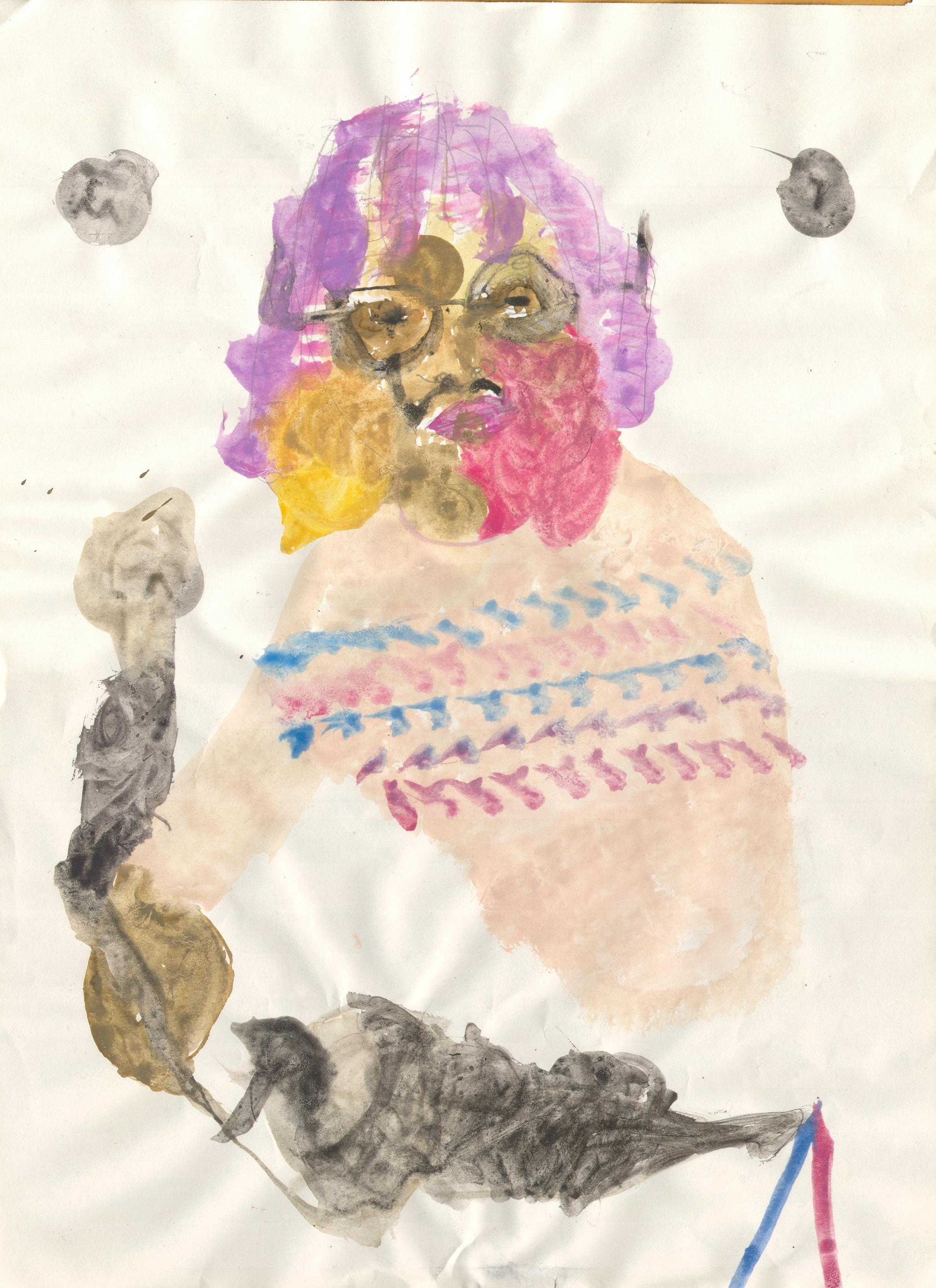 O.T. ( Selbstportrait ), 2018  Tempera Papier, 40.5x29.2cm