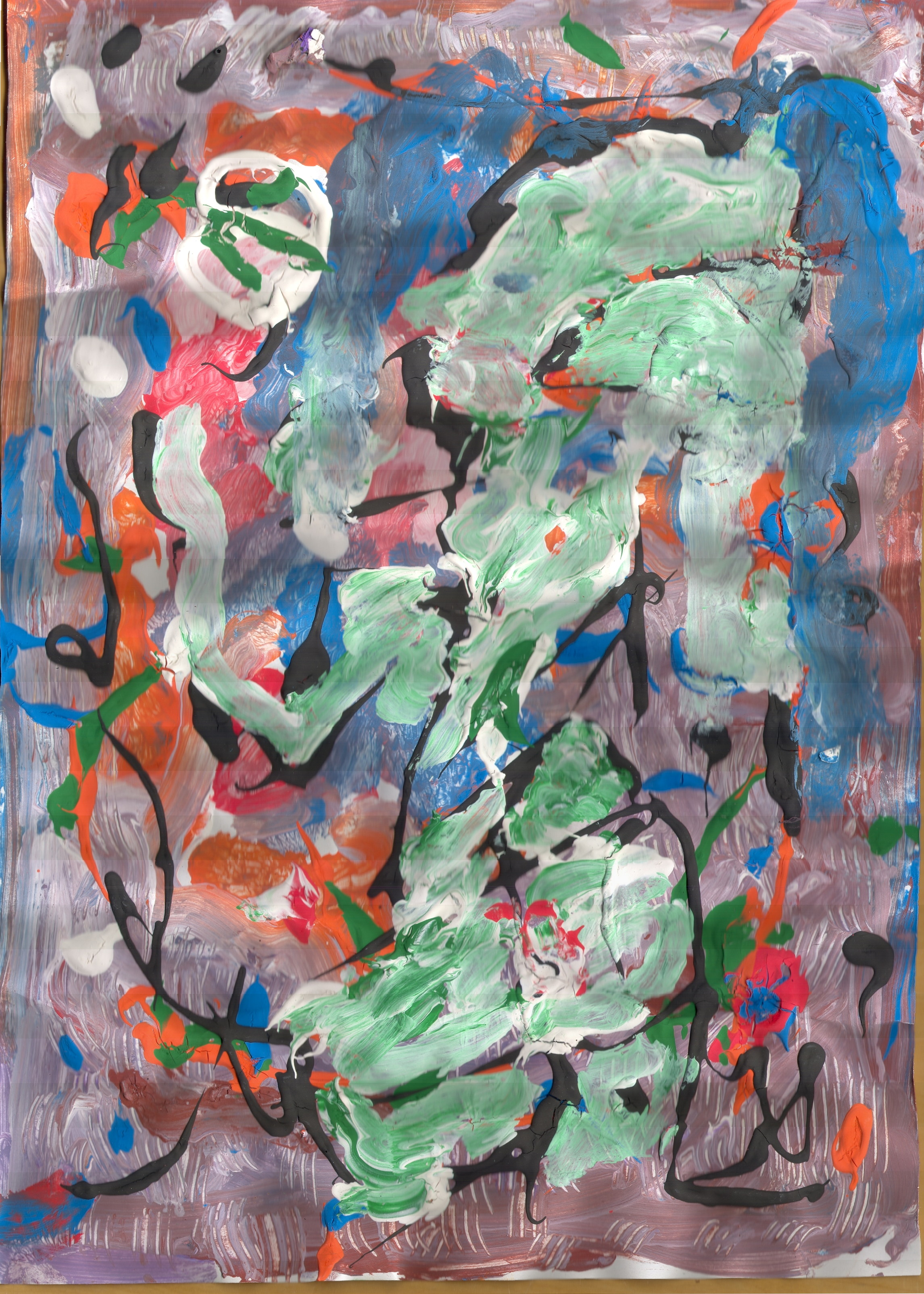 O.T. ( Mondgöttin ), 2018,  Tempera Papier, 40.5x29.2cm