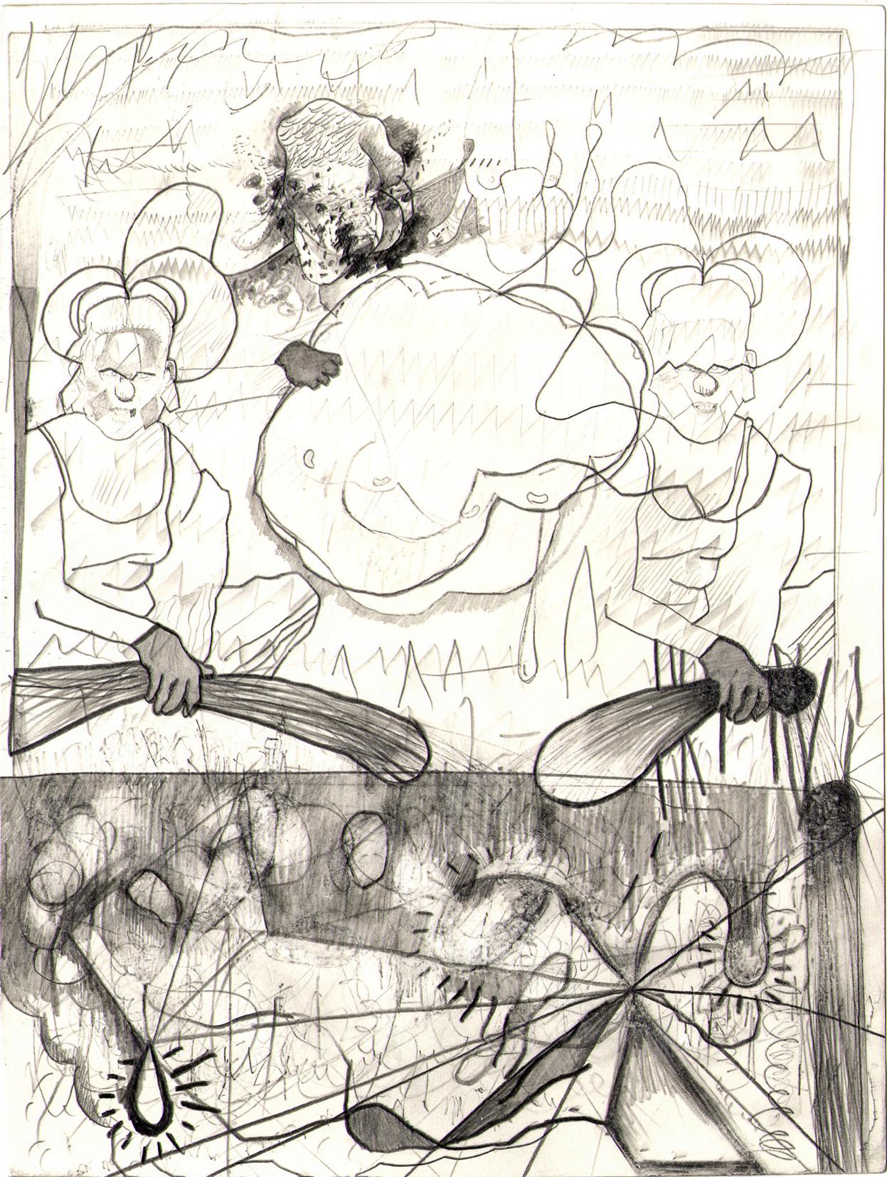 O.T. ( kinder u konder o ), 2005  Bleistift auf Papier, 26.5x35cm