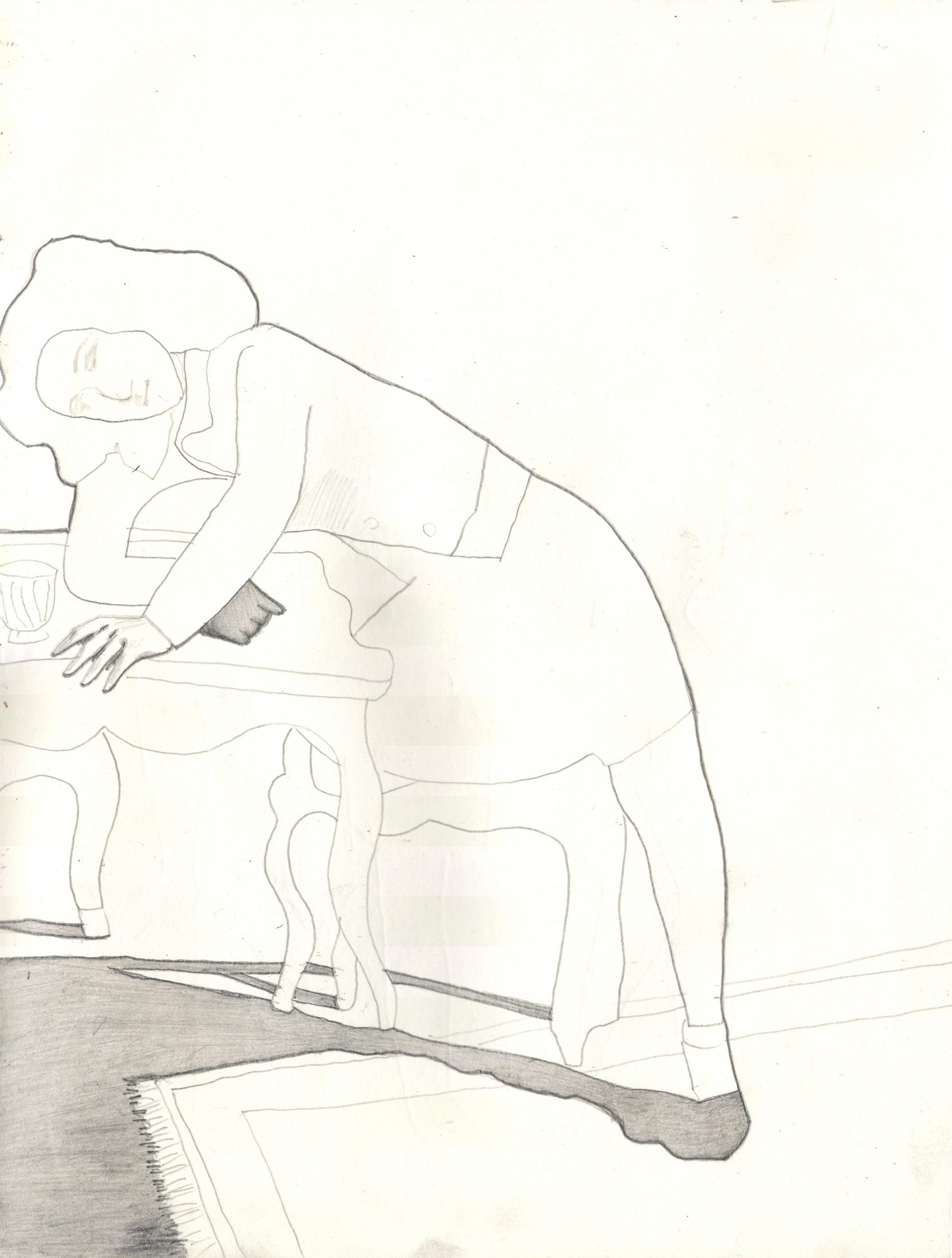 O.T. ( Serie Balthus ), 2019  Bleistift auf Papier, 26x35.5cm