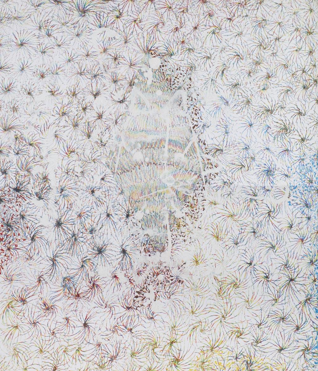 O.T. ( Eine Raute und 200 Rosetten ), 2016  Buntstift Acryl Papier, 260x200cm