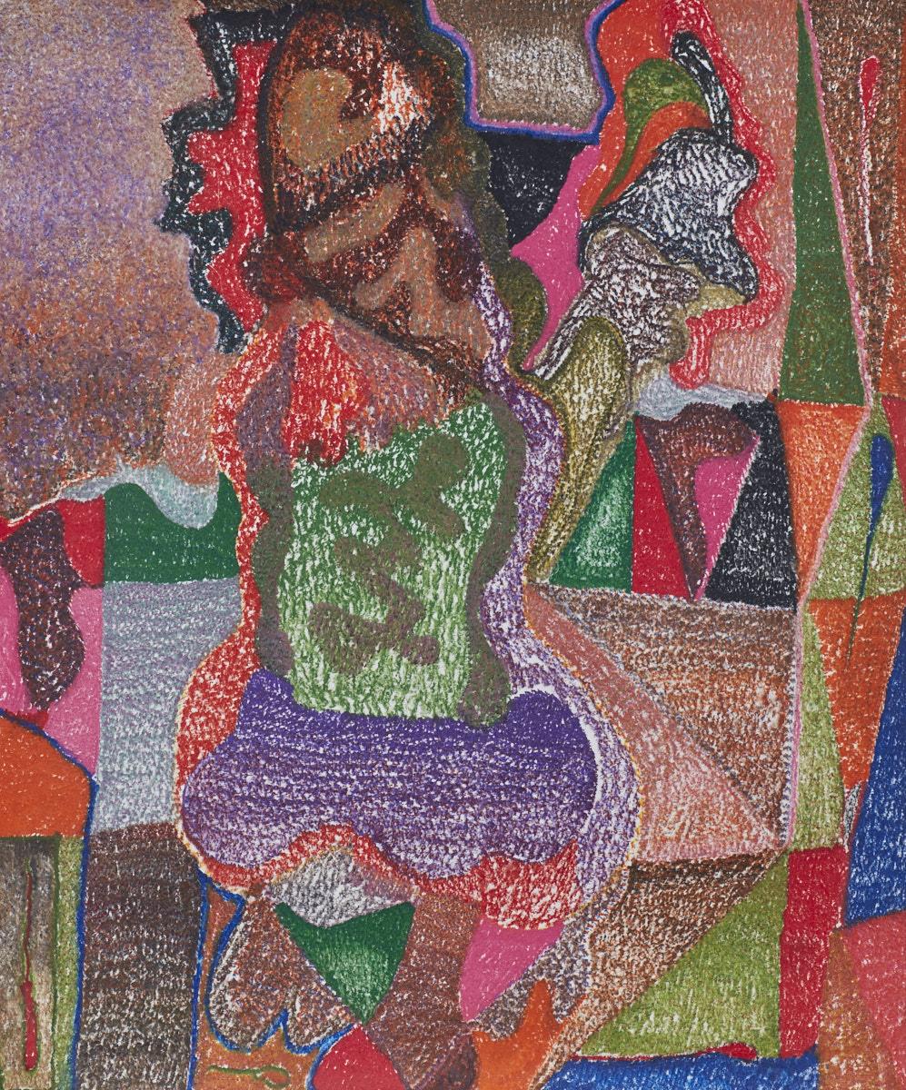 O.T. ( Frau ), 2017  Buntstift auf Papier, 150x180cm