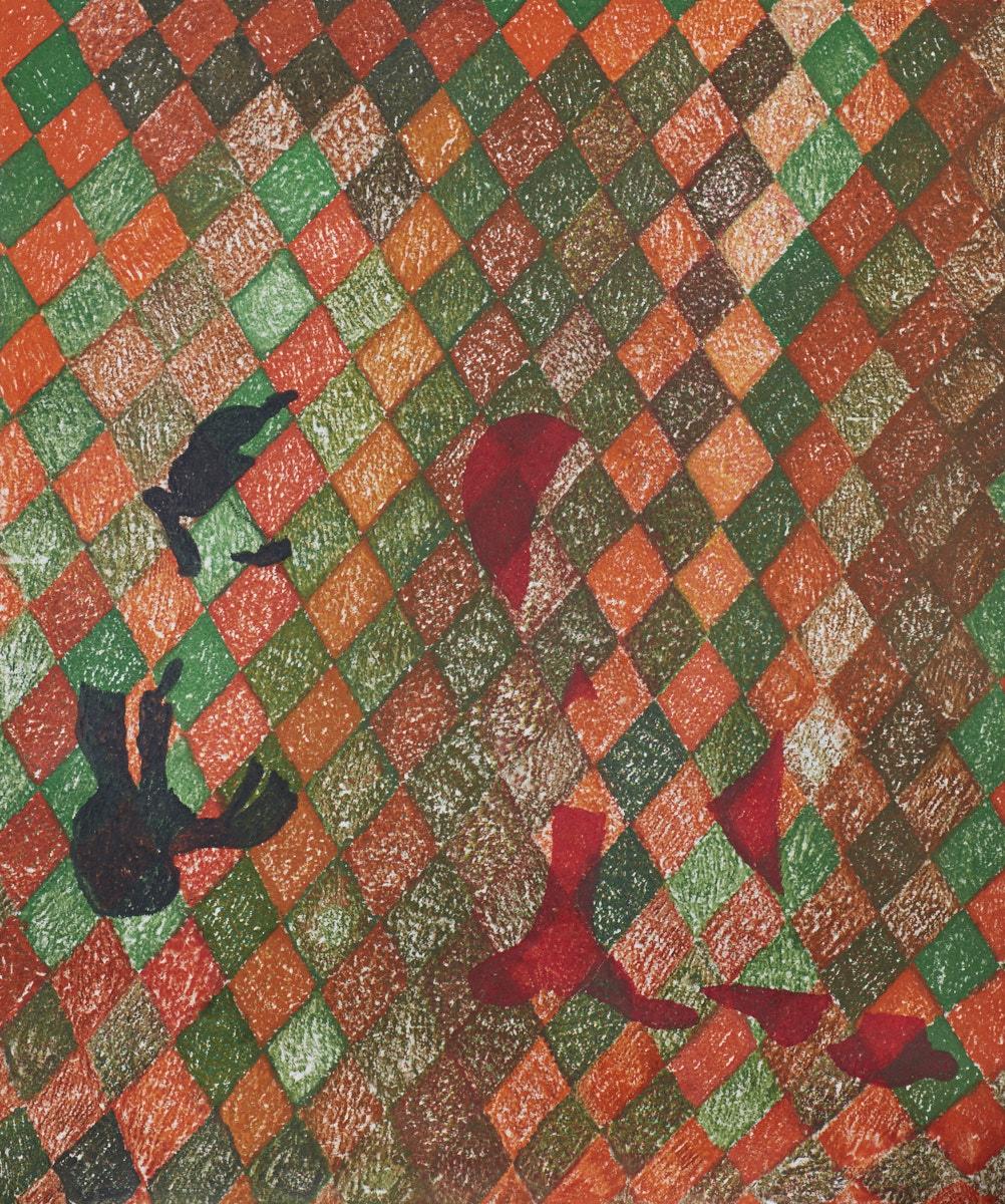 O.T. ( Green and Red Shunga abstrakt ), 2017   Buntstift auf Papier, 150x180cm