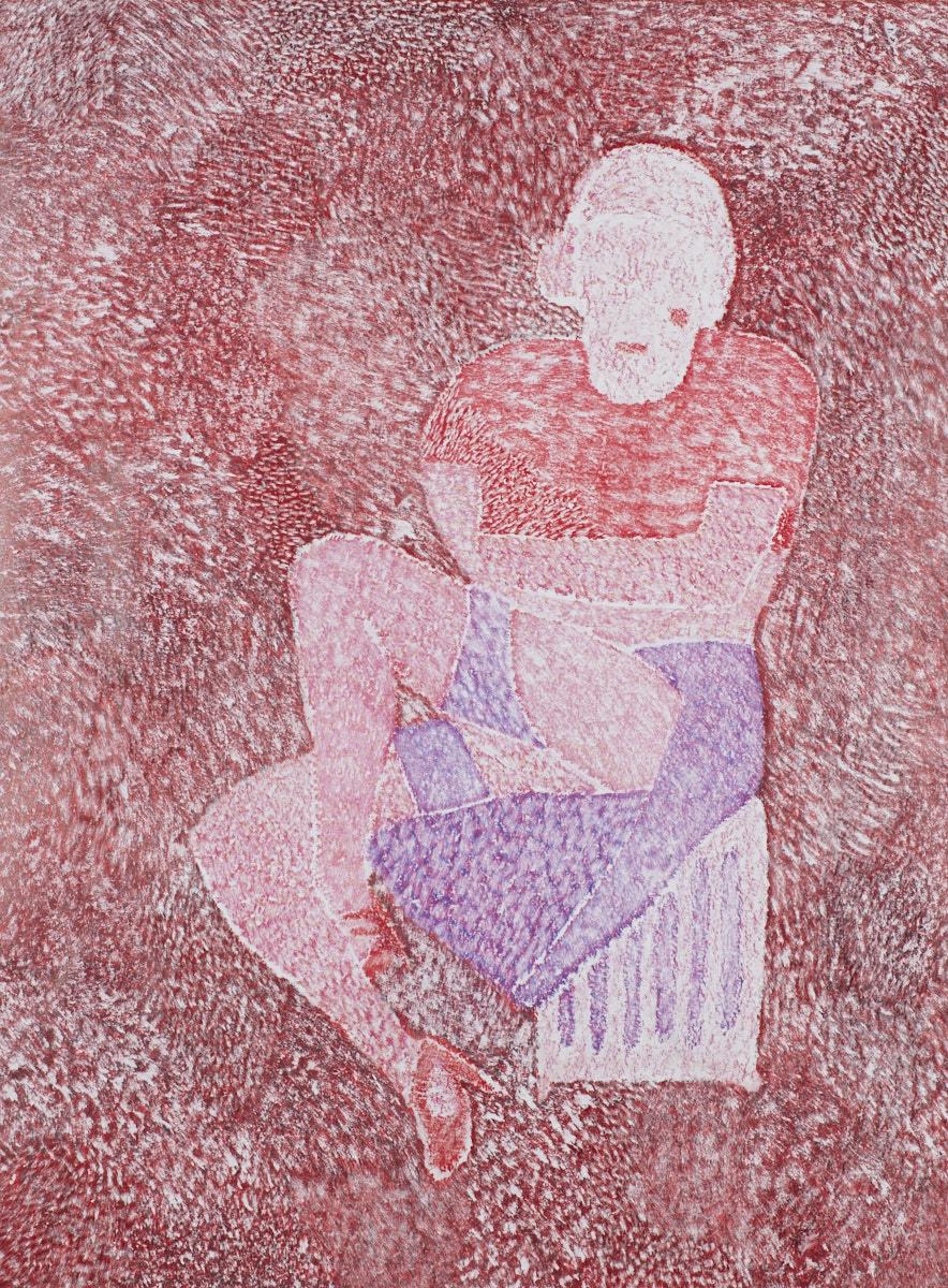 O.T. ( cold-heat Red-Phase ), 2019  Bleistift Buntstift auf Papier, 150x180cm