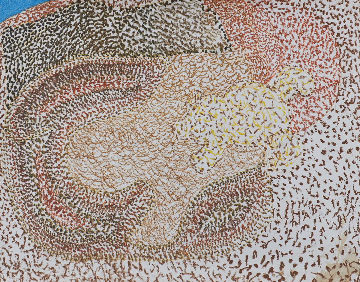 O.T. ( Pooh in der Höhle ), 2017  Buntstift auf Papier, 125x150cm