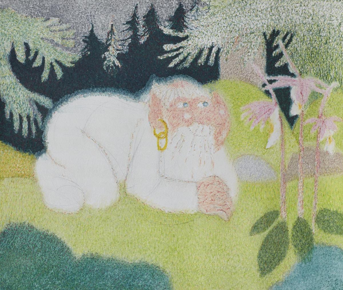 O.T. ( Waldgeist Schweden ), 2016  Buntstift auf Papier, 150x125cm
