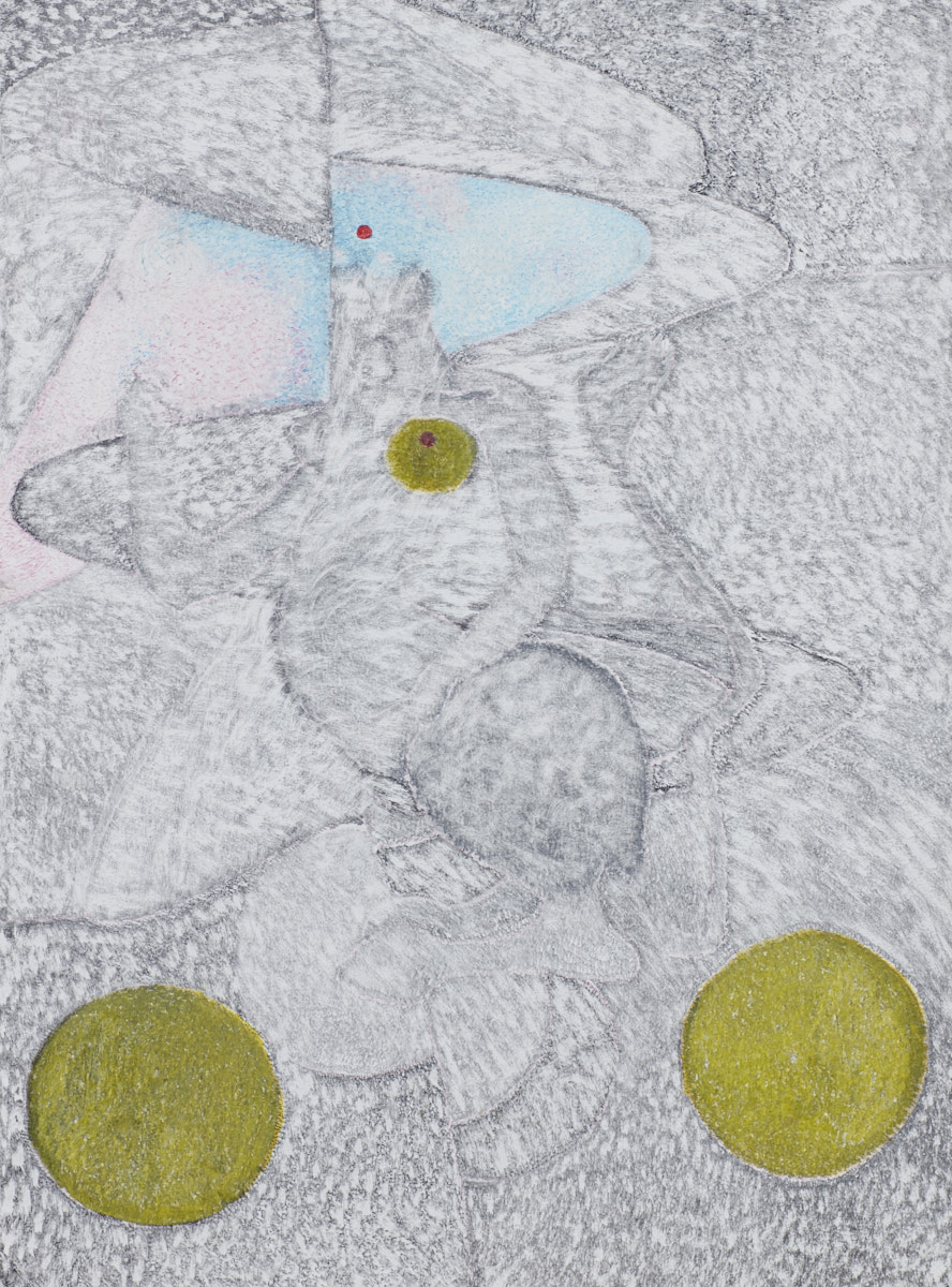 O.T. ( Leonor Fini Paraphrase ), 2018  Bleistift Buntstift auf Papier, 125x150cm
