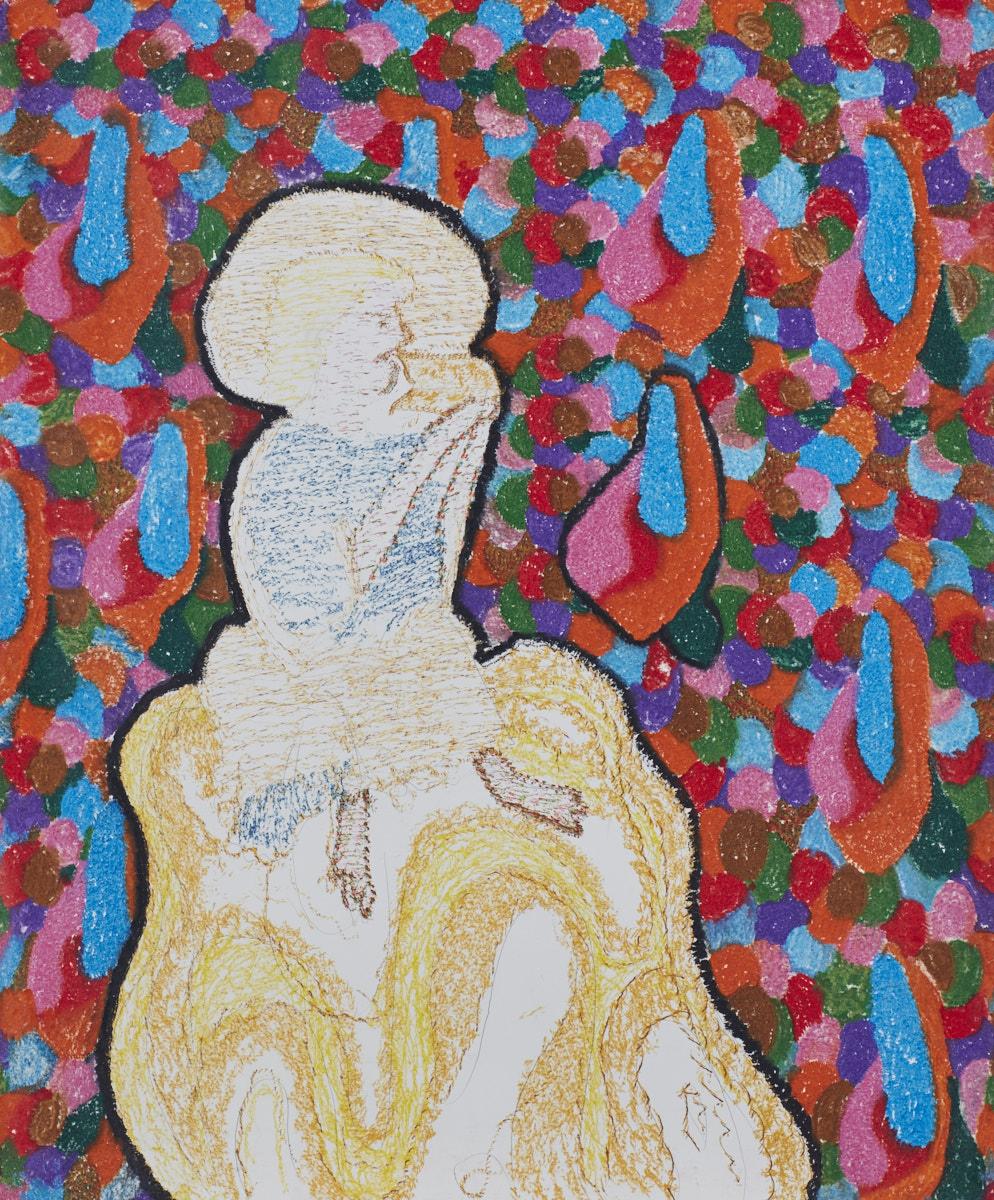 O.T. ( Johannes Offenbarung. Psychedelische Ekstase durch Verzehr von Buch I ) 2018  Buntstift Acryl auf Papier, 125x150cm