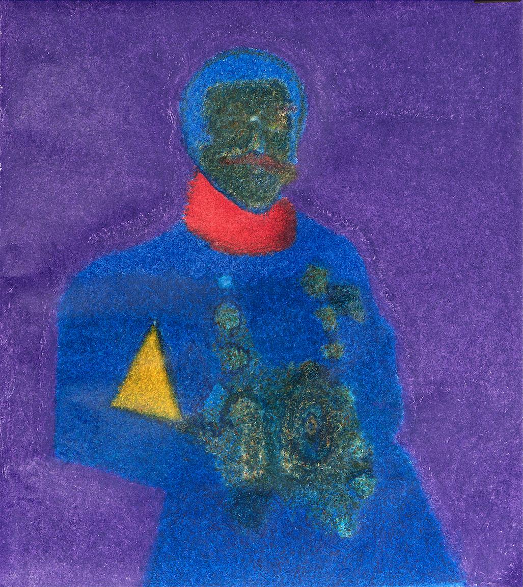 O.T. ( Selbstportrait als Offizier ), 2013  Buntstift auf Papier, 100x130cm