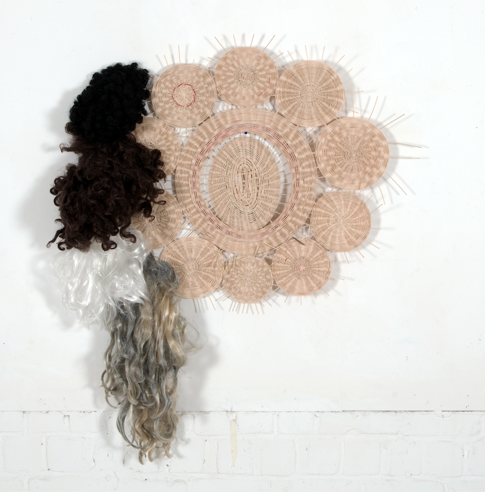 O.T., 2012, Rattan, Haare, 100x140cm