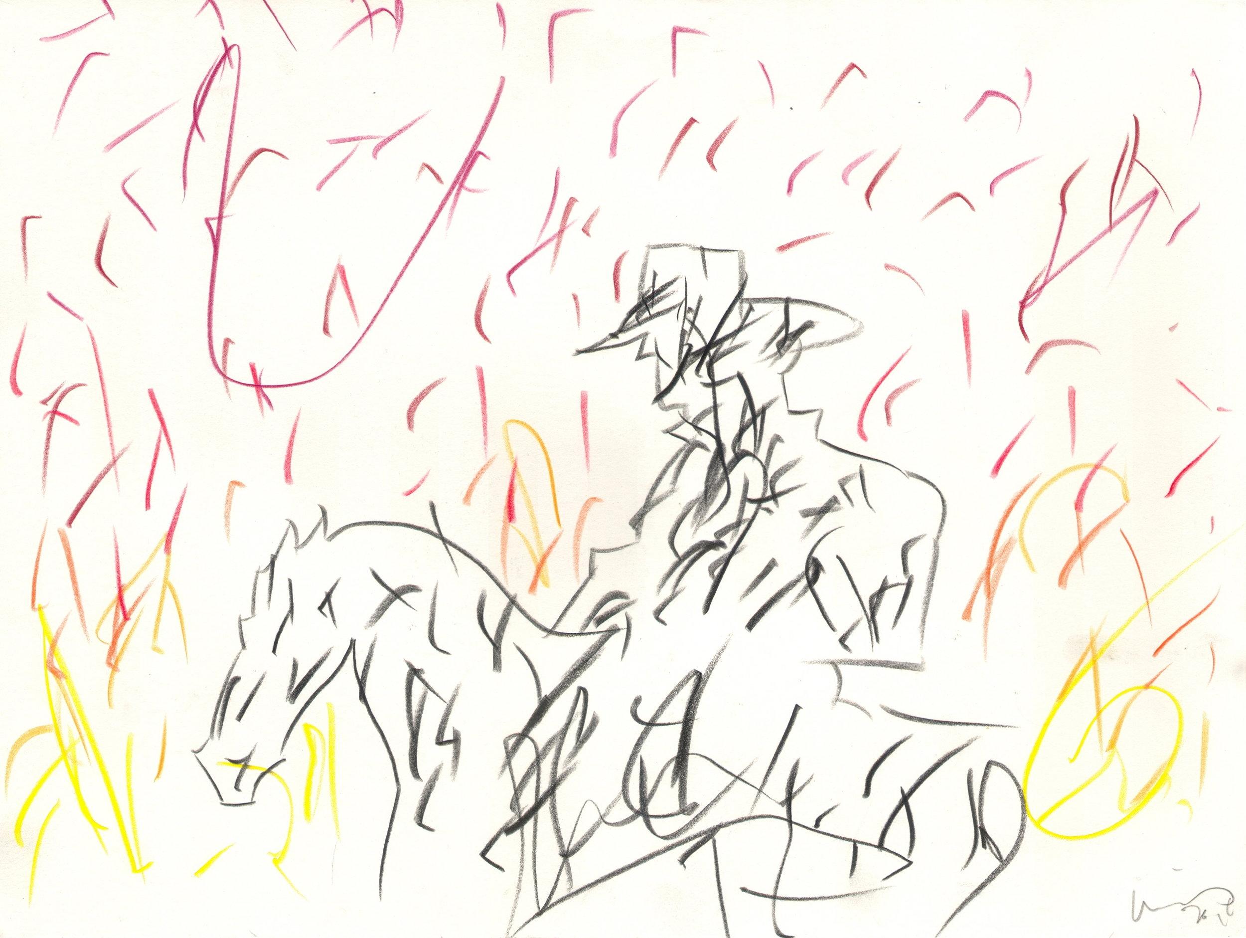 O.T. ( Serie Cowboys I ), 2016  Bleistift auf Papier, 26x35.5cm