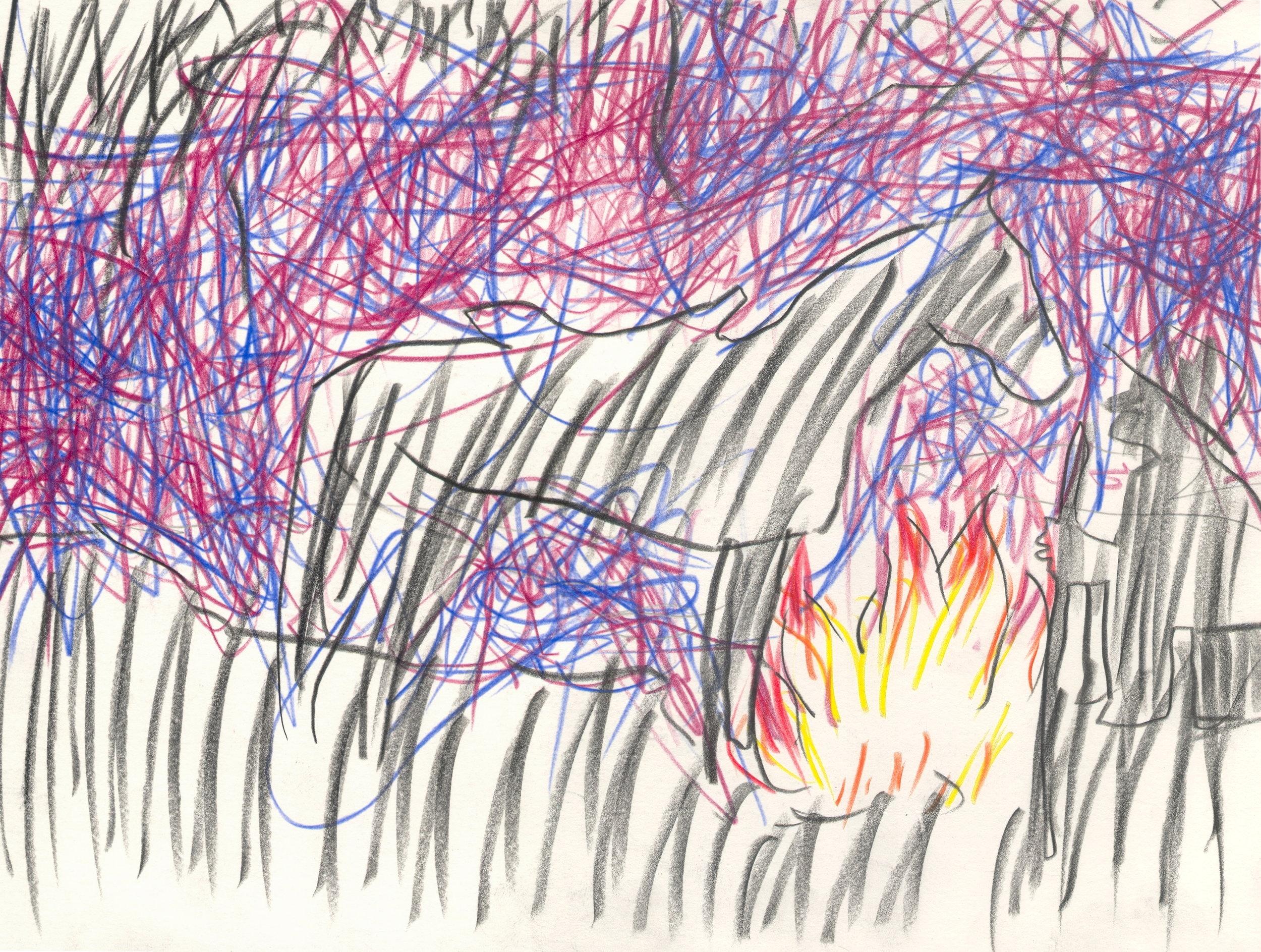 O.T. ( Serie Cowboys III ), 2016  Bleistift auf Papier, 26x35.5cm