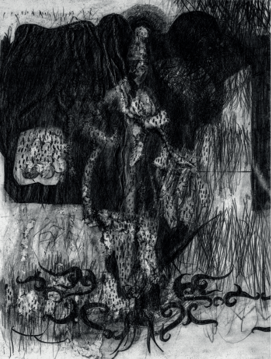 O.T. ( Frau im Pelz ), 2012  Bleistift auf Papier, 26x30.5cm