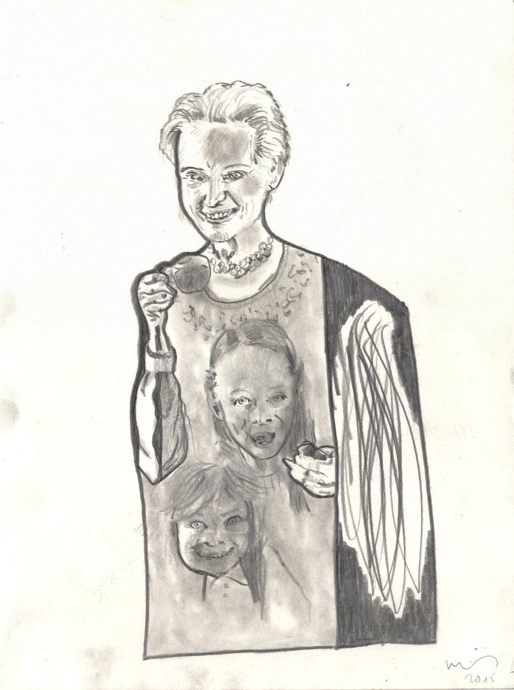 O.T. ( Frau Kinder ), 2015  Bleistift auf Papier, 26x35.5cm